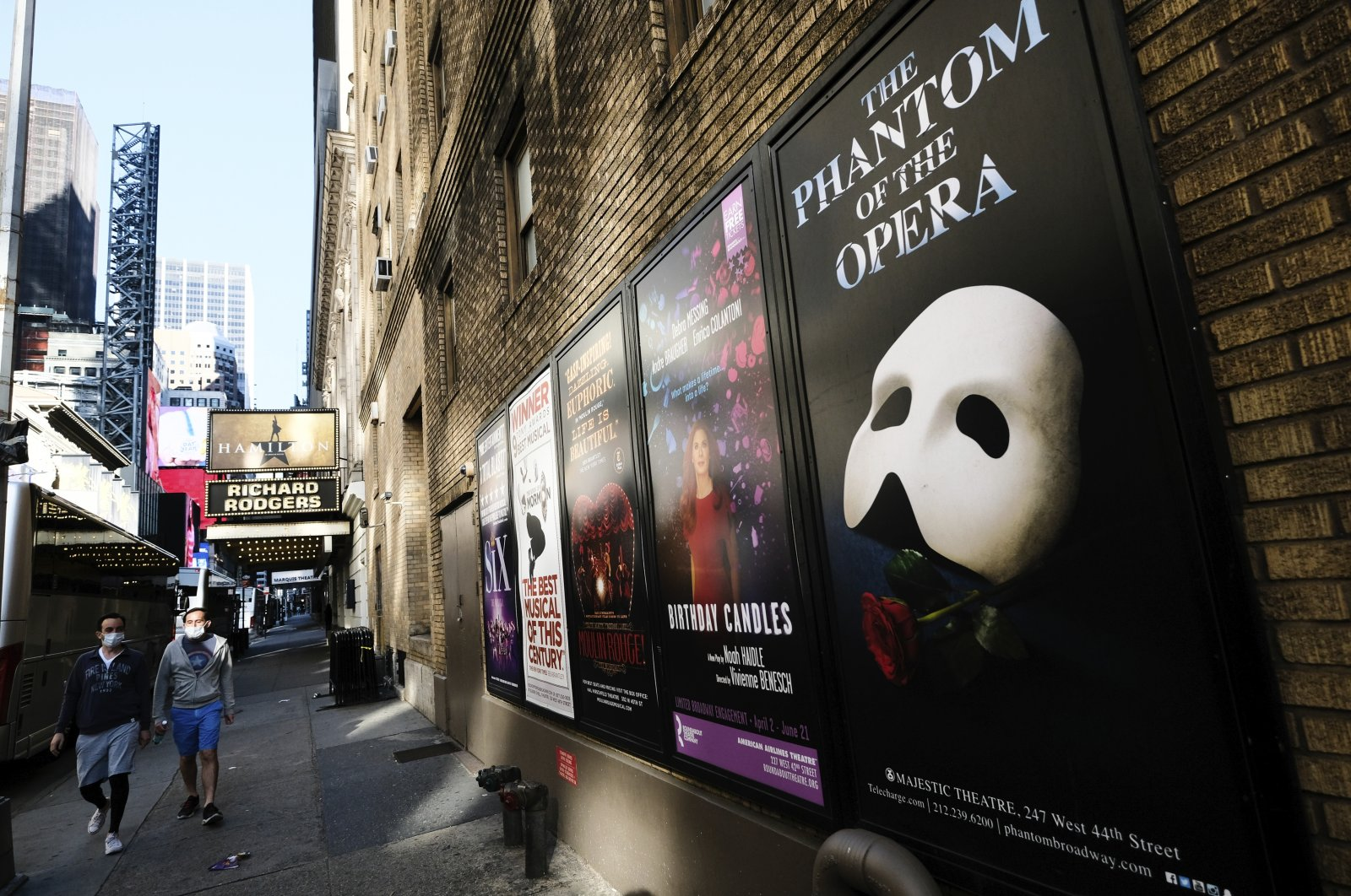 Broadway posters appear outside the Richard Rodgers Theatre during COVID-19 lockdown in New York, U.S., May 13, 2020. (AP Photo)