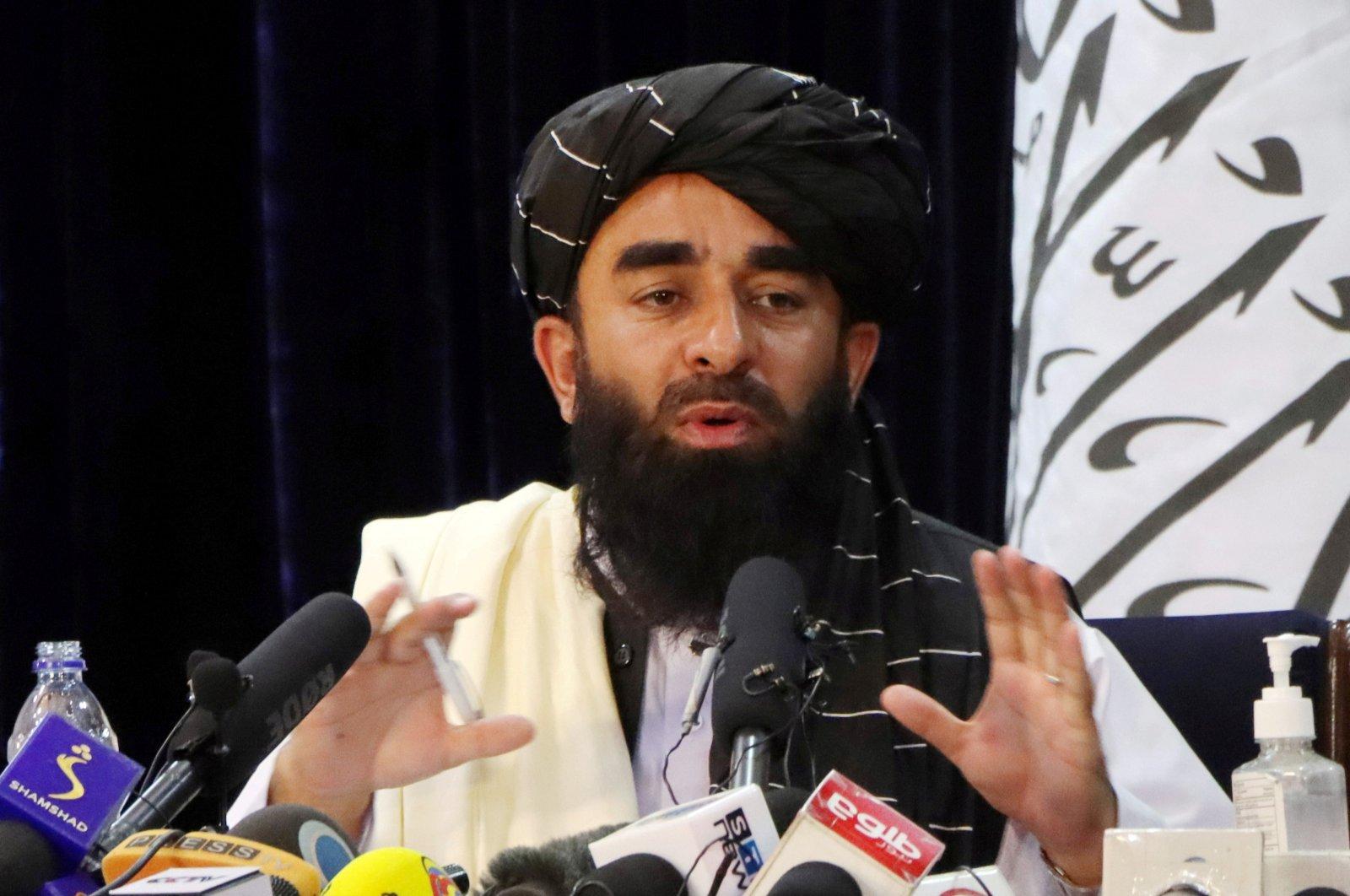 Taliban spokesman Zabihullah Mujahid speaks during a news conference in Kabul, Afghanistan, Aug. 17, 2021. (Reuters Photo)