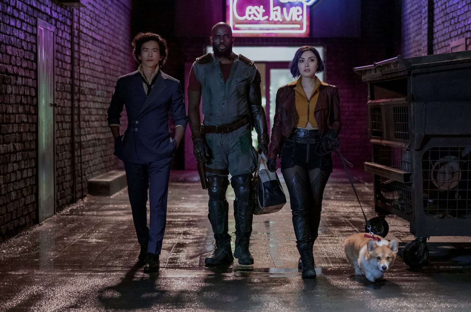 "John Cho as Spike Spiegel, Mustafa Shakir as Jet Black and Daniella Pineda as Faye Valentin in ""Cowboy Bebop,"" a highly anticipated anime adaptation set to arrive on Netflix in November. (DPA Photo)"