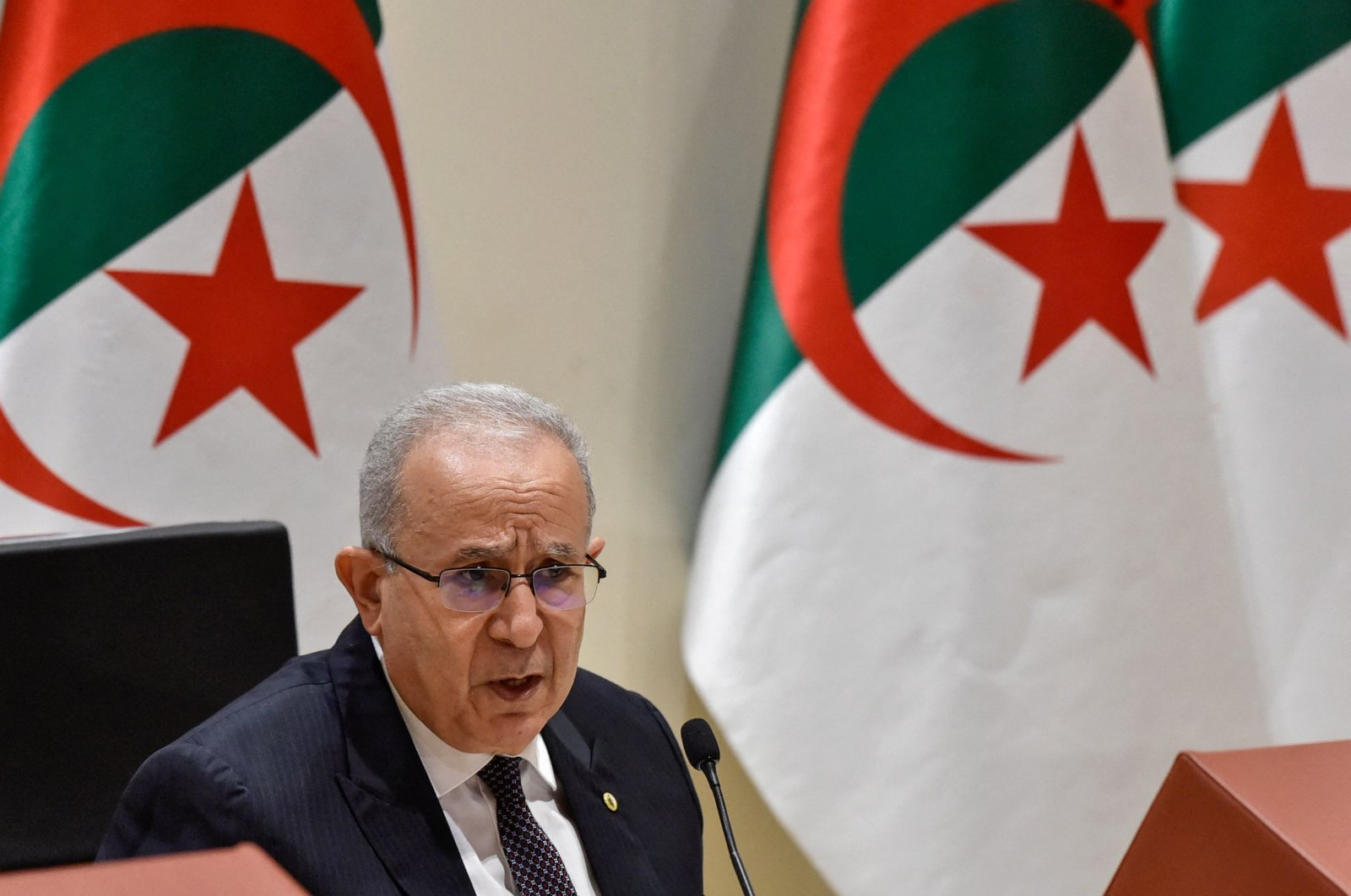 Algeria's Foreign Minister Ramtane Lamamra holds a press conference in the capital Algiers, Algeria, on Aug. 24, 2021. (Ryad Kramdi / AFP Photo)