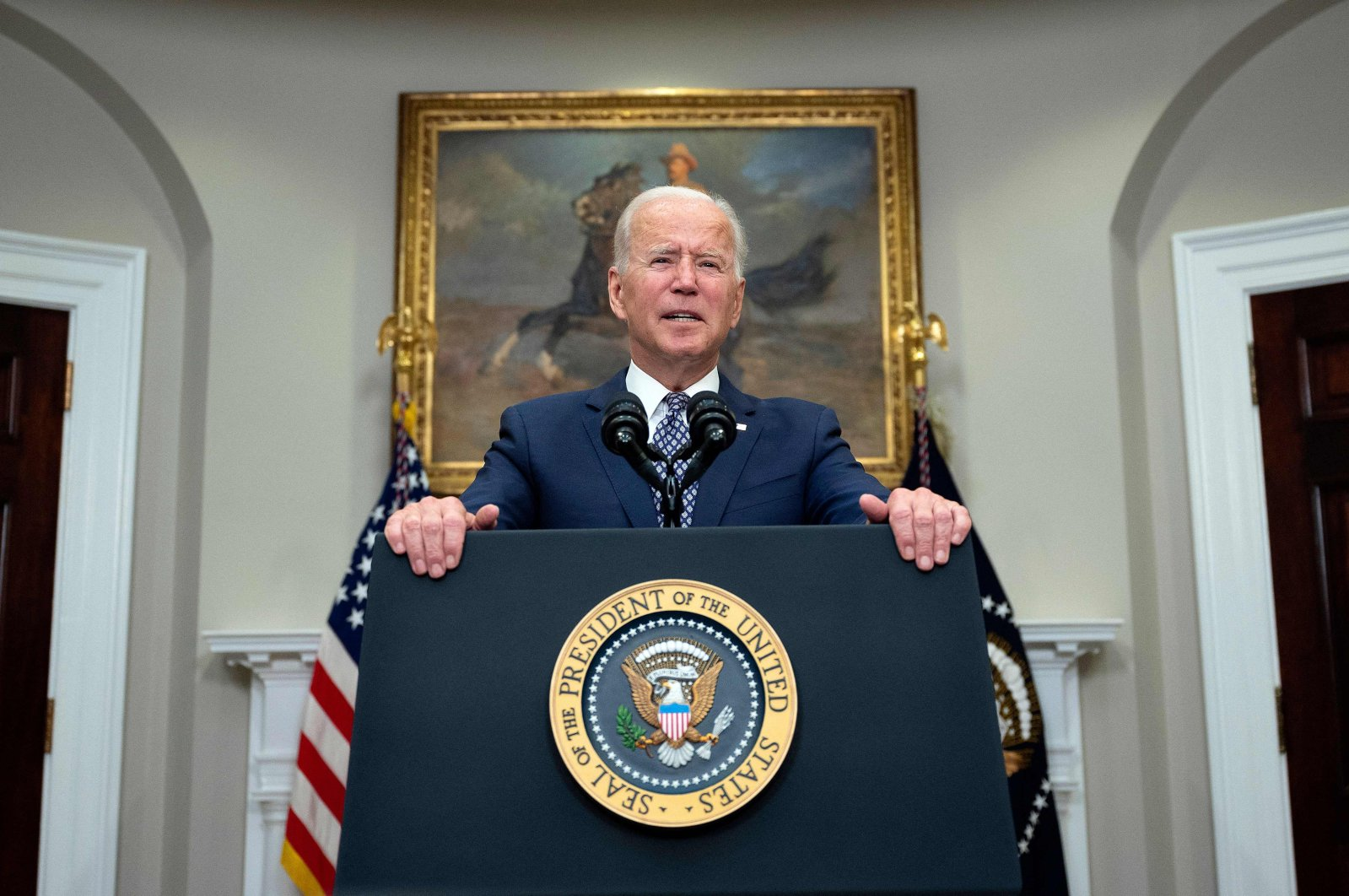 US President Joe Biden speaks about the ongoing evacuation of Afghanistan, on August 24, 2021, from the Roosevelt Room of the White House in Washington, DC. (AFP Photo)