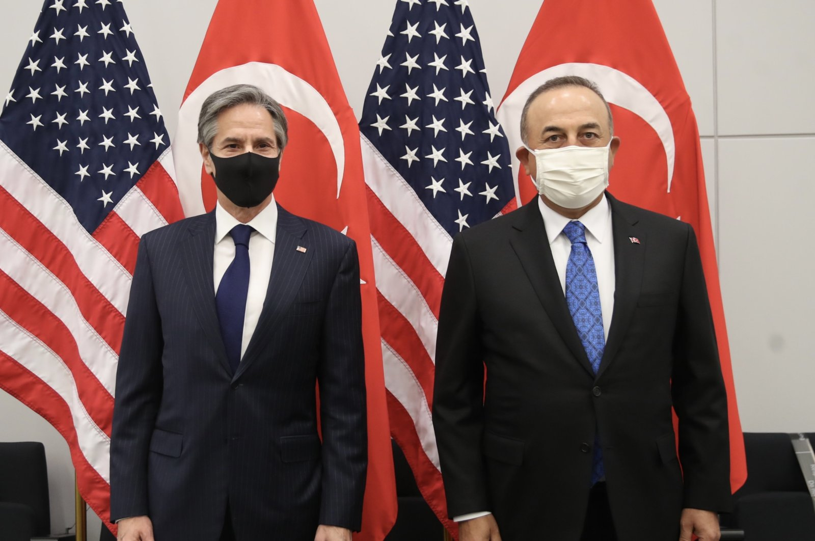 Foreign Minister Mevlüt Çavuşoğlu (R) and his U.S. counterpart Anthony Blinken pose for a photo during a NATO summit in Brussels, Belgium, Mar. 21, 2021. (AA Photo)