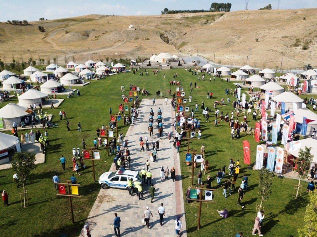 An aerial view of yurts set up for celebrations in Ahlat, Bitlis, eastern Turkey, Aug. 25, 2021. (İHA PHOTO)