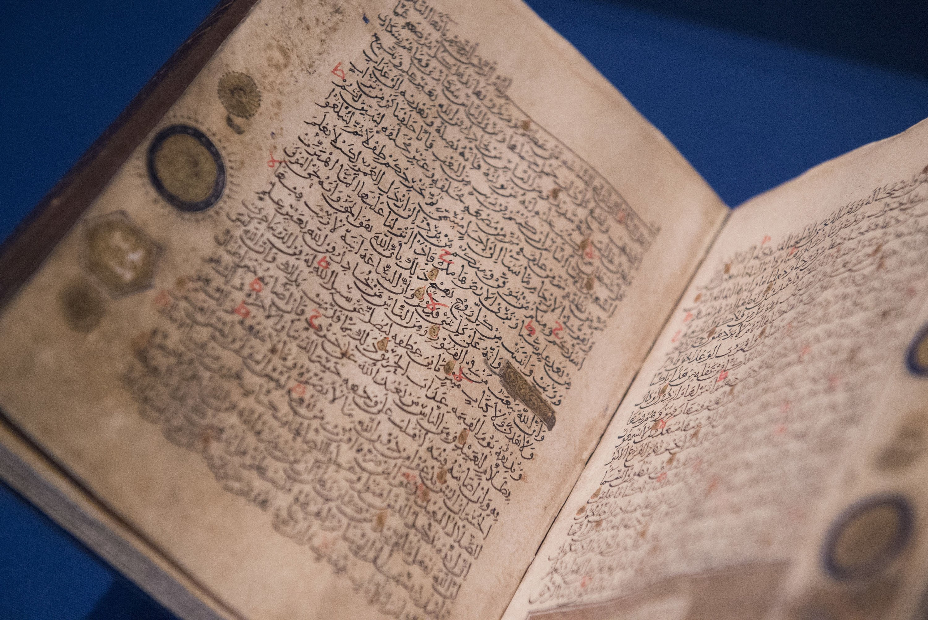 A Quran is displayed as part of the exhibit 'The Art of the Quran: Treasures from the Museum of Turkish and Islamic Arts,' at the Sackler Gallery in Washington, U.S., Oct. 20, 2016. (AP Photo)