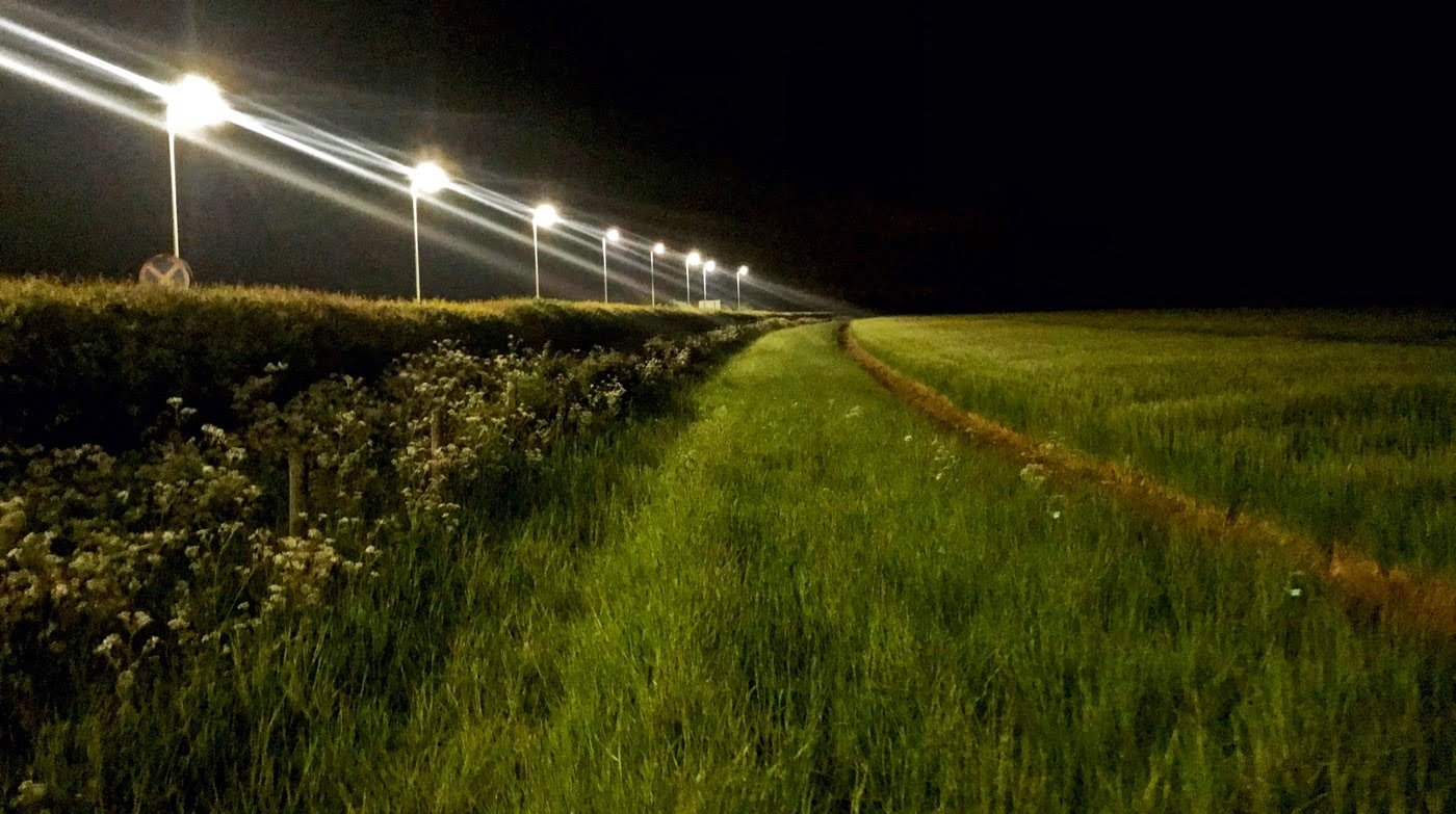 This undated image courtesy of Douglas Boyes shows white LED street lights along a rural road. The lights also illuminate the adjacent hedgerows and grass margins in Tackley, Oxfordshire, United Kingdom. (Photo by Douglas Boyes/www.douglasboyes.co.uk/AFP)