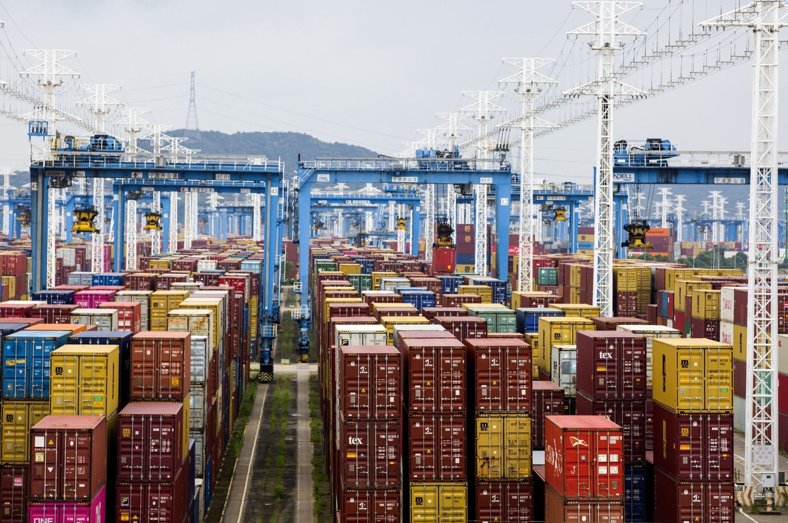 Shipping containers line the storage area at the Ningbo-Zhoushan port in Ningbo, Zhejiang Province, China, Aug. 15, 2021. (Getty Images)