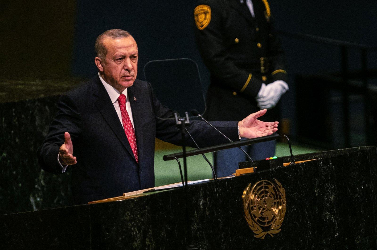 President Recep Tayyip Erdoğan speaks during the U.N. General Assembly meeting in New York, U.S., Sept. 25, 2018. (Getty Images Photo)
