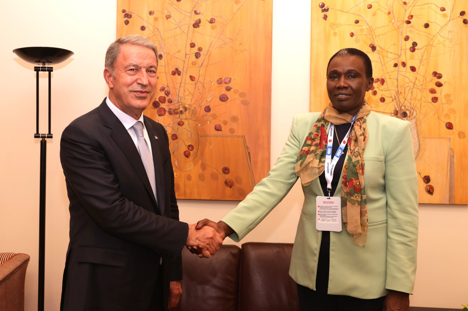Defense Minister Hulusi Akar (L) together with South Sudan's Minister for Defense and Veterans Affairs Angelina Teny in Istanbul, Turkey, Aug. 17, 2021. (AA Photo)