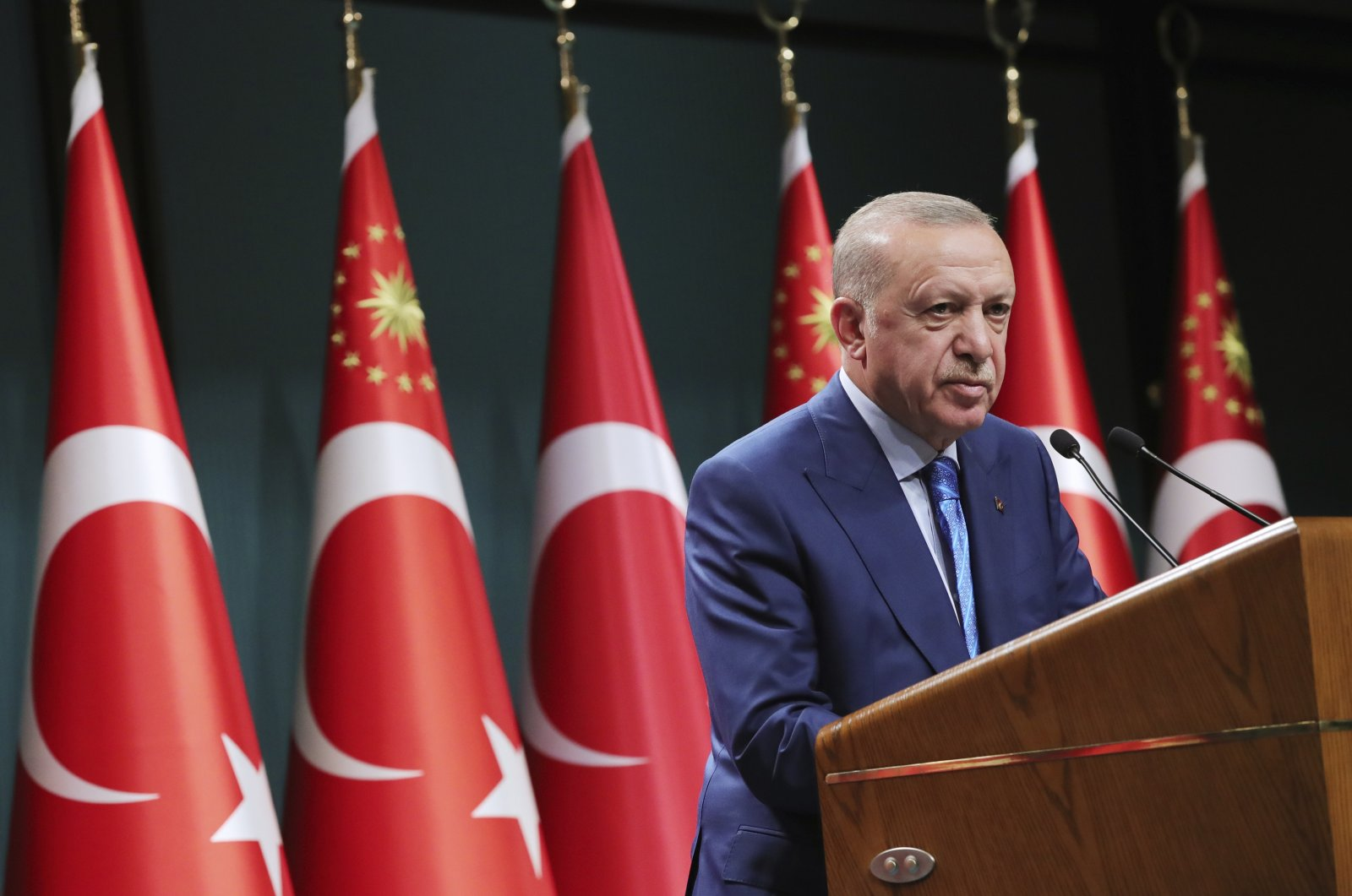 President Recep Tayyip Erdoğan speaks during a televised address following a Cabinet meeting, in Ankara, Turkey, Aug. 19, 2021. (Turkish Presidency via AP)