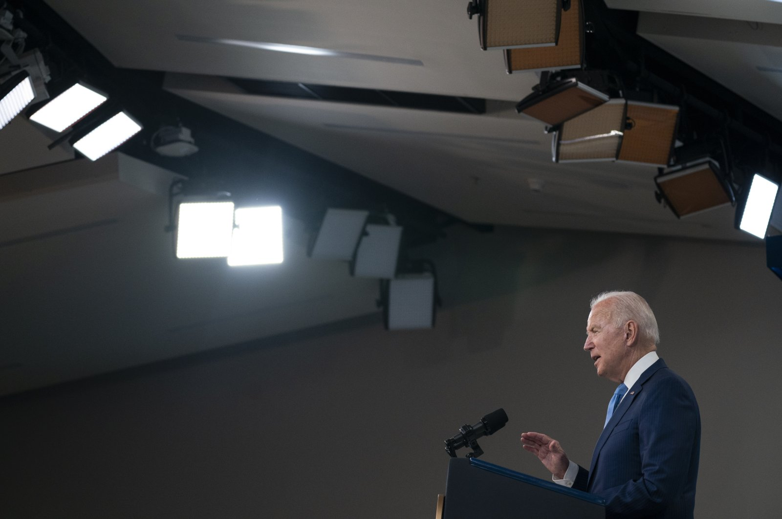 U.S. President Joe Biden delivers remarks on the full FDA approval of the Pfizer-BioNTech coronavirus vaccine, in the South Court Auditorium on the White House campus, Washington D.C., Aug. 23, 2021. (AP Photo)
