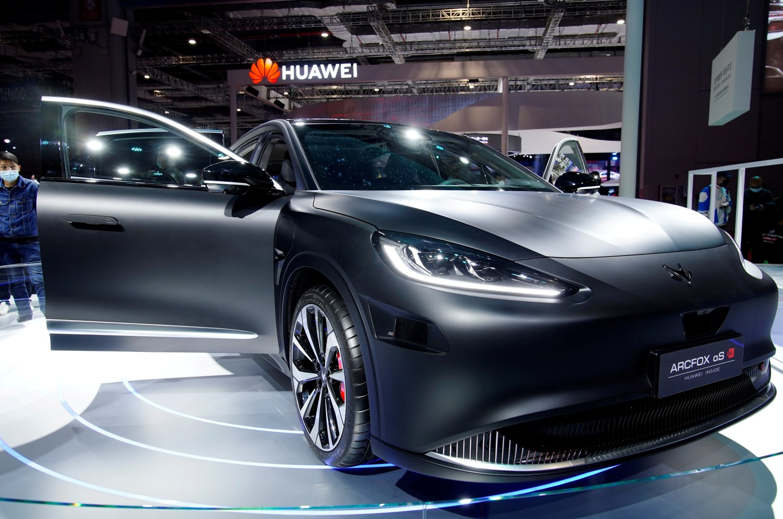 An Arcfox Alpha-S HI (Huawei Inside) electric vehicle is seen displayed during a media day for the Auto Shanghai show in Shanghai, China, April 19, 2021. (Reuters Photo)