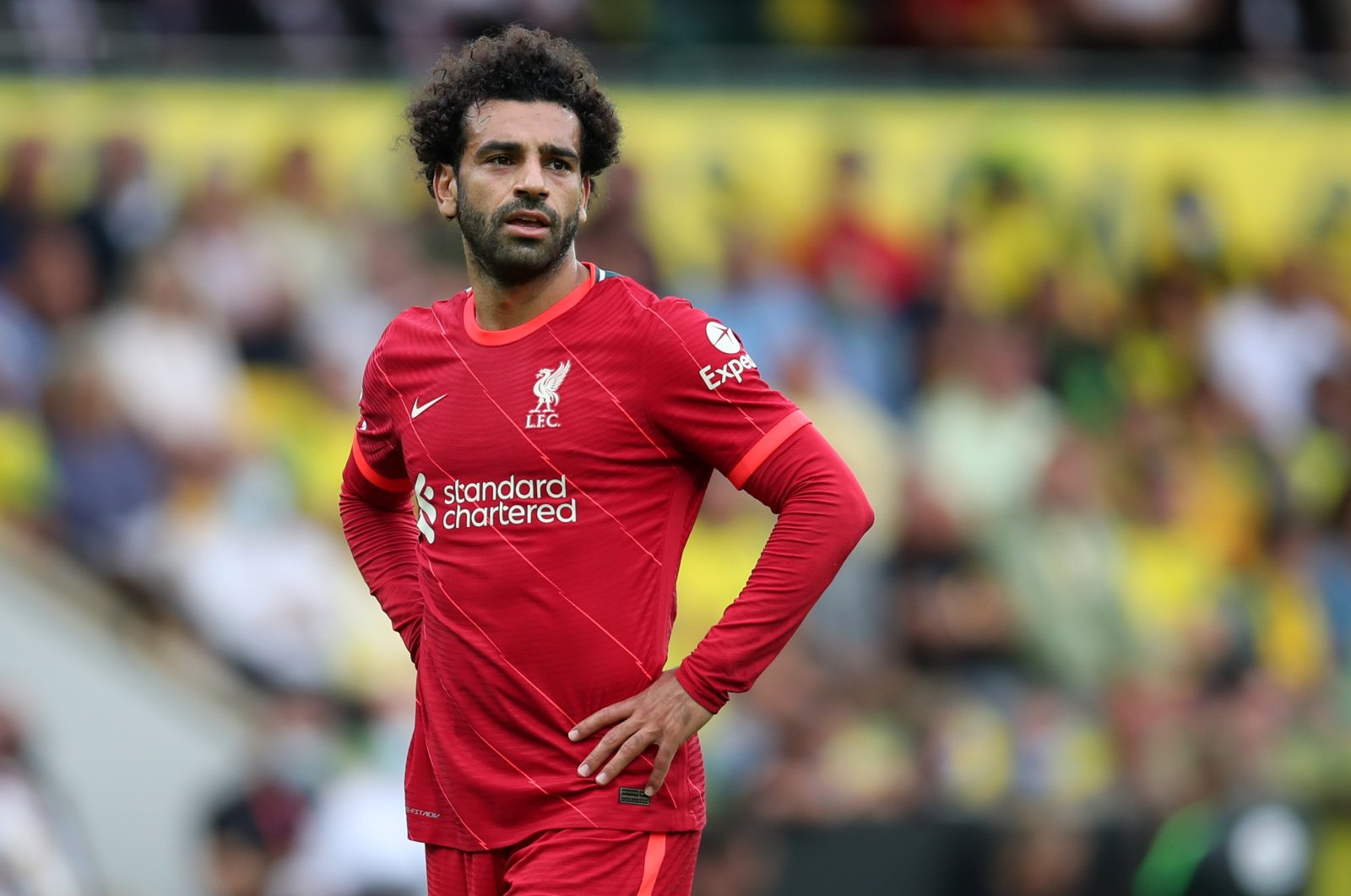 Liverpool's Mohamed Salah reacts during a Premier League match against Norwich City at Carrow Road, Norwich, England, Aug. 14, 2021. (Reuters Photo)