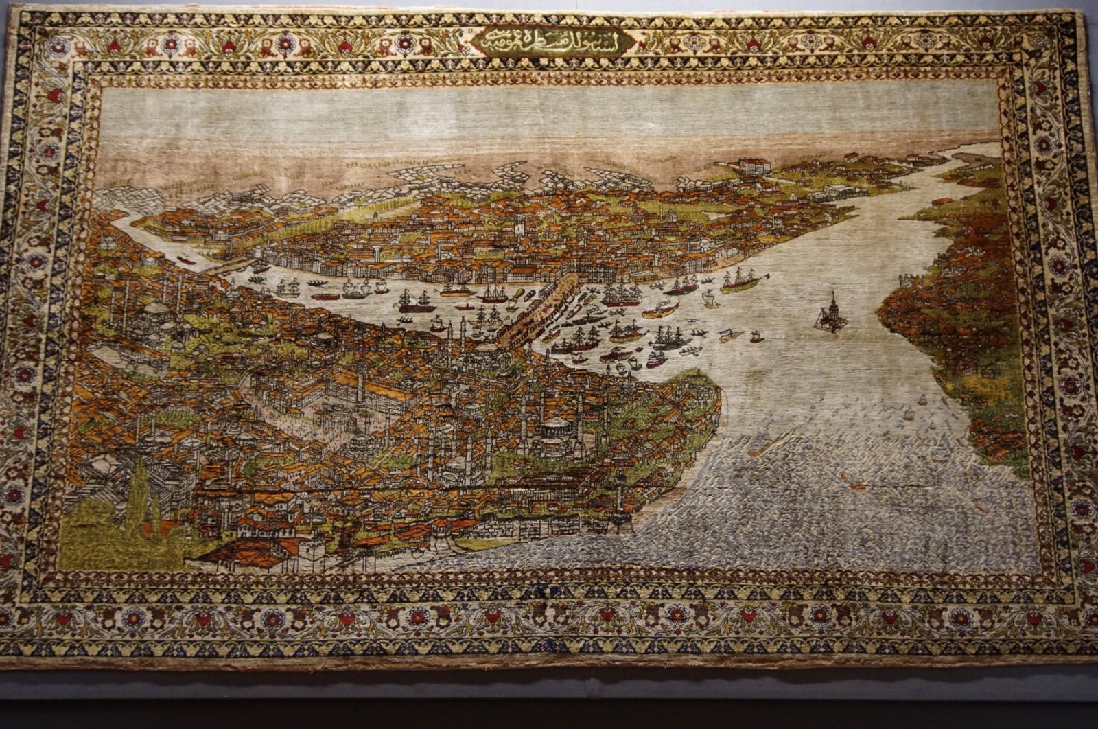 A historical artwork depicting Istanbul in the Museum of Turkish and Islamic Arts. (Photo by Murat Tarık)