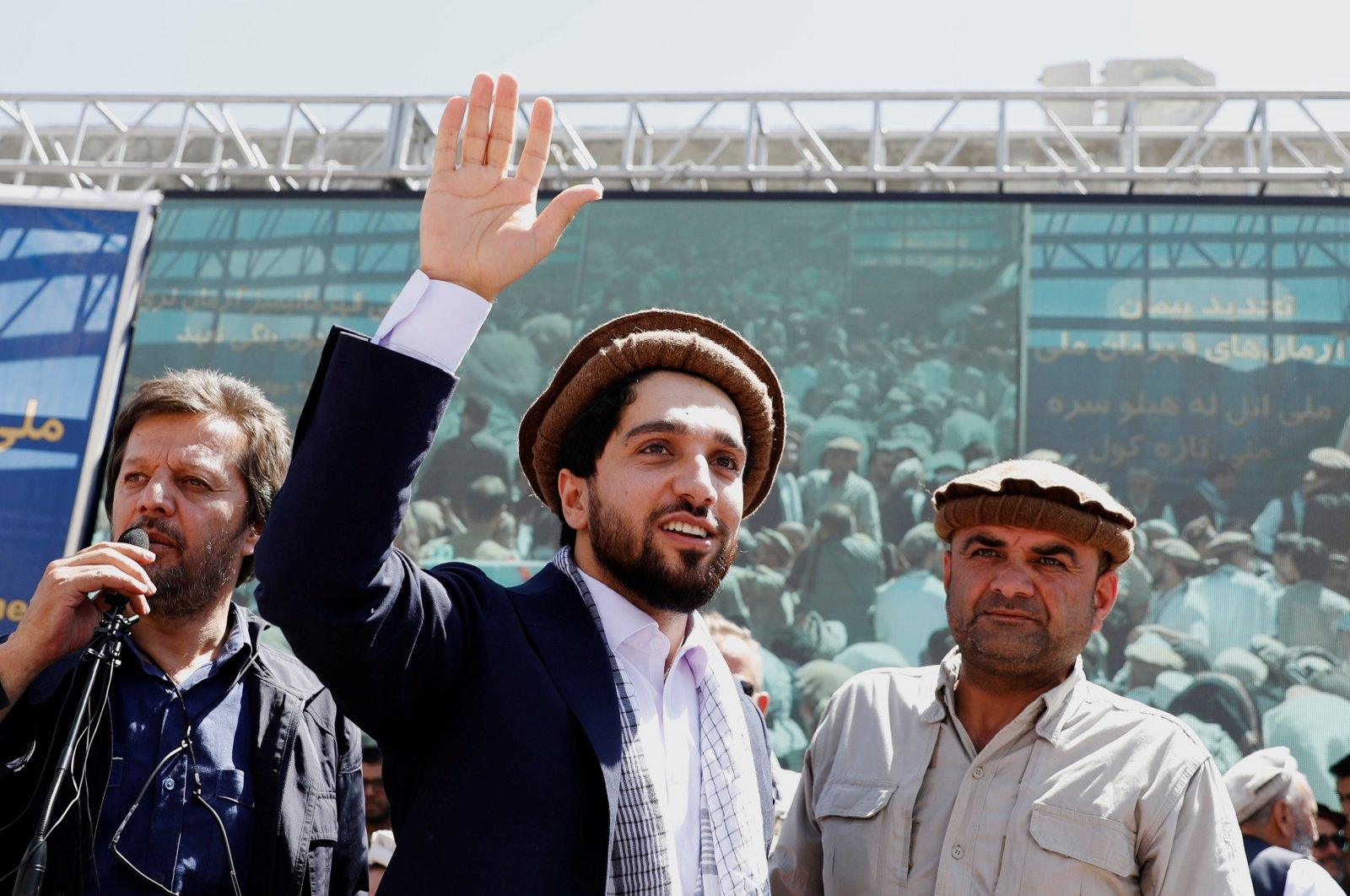Ahmad Massoud, son of Afghanistan's slain anti-Soviet resistance hero Ahmad Shah Massoud, waves as he arrives to attend a gathering in Bazarak, Panjshir province, Afghanistan, Sept. 5, 2019. (Reuters File Photo)