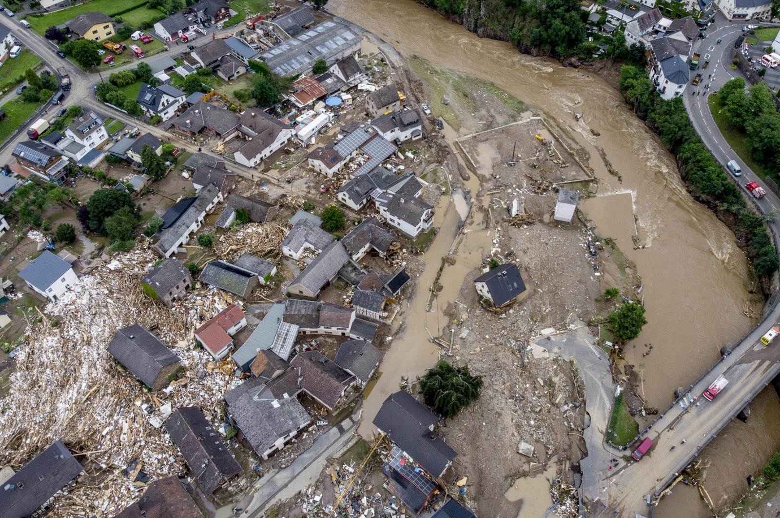 In this July 15, 2021 file photo destroyed houses are seen close to the Ahr river in Schuld, Germany. (AP Photo)