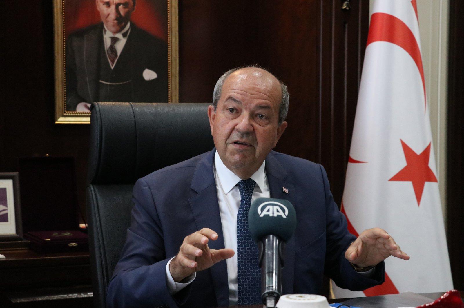 Turkish Republic of Northern Cyprus (TRNC) President Ersin Tatar speaks to Anadolu Agency (AA), Aug. 25, 2021 (AA Photo)