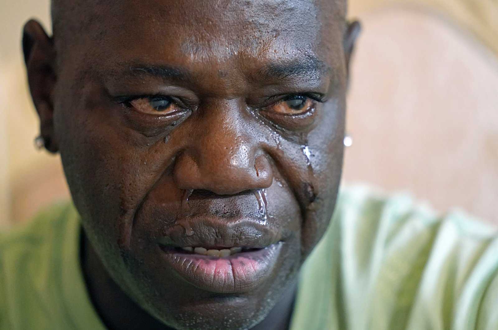 Aaron Larry Bowman cries during an interview at his attorney's office in Monroe, Lousiana, U.S., Aug. 5, 2021. (AP Photo)
