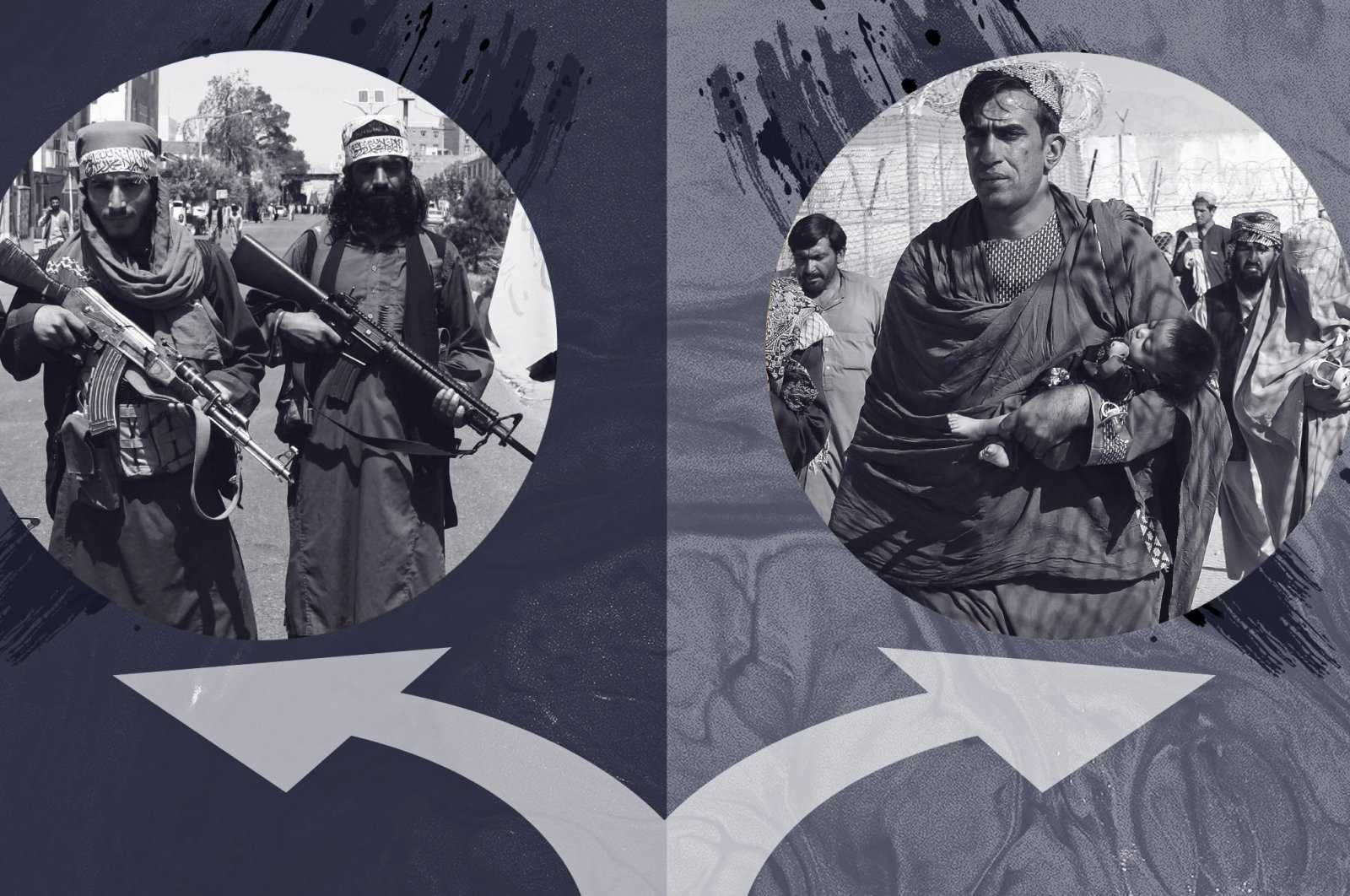 A photo illustration by Daily Sabah's Büşra Öztürk shows the Taliban at the crossroads as they decide how to govern Afghanistan.