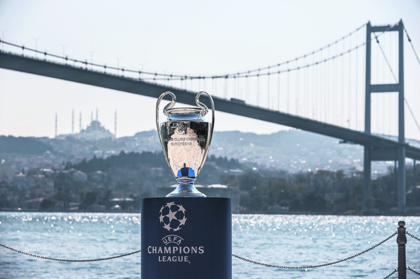 The UEFA Champions League trophy at the city's Esma Sultan Mansion, overlooking the historic Bosporus, Istanbul, Turkey, April 21, 2021. (AA Photo)