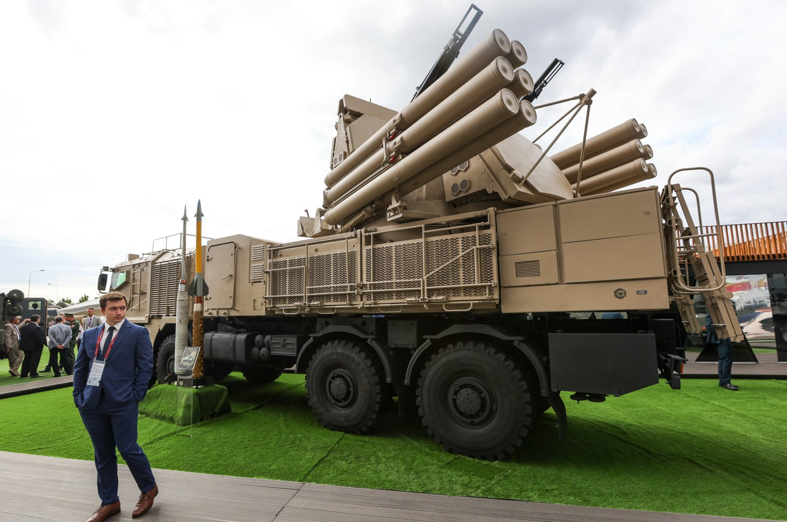 A Pantsir-S1M surface-to-air missile and anti-aircraft artillery system on display at the Army 2021 International Military and Technical Forum in Patriot Military Park in the town of Kubinka, west of Moscow, Russia, Aug. 24, 2021. (Photo by TASS via Reuters)