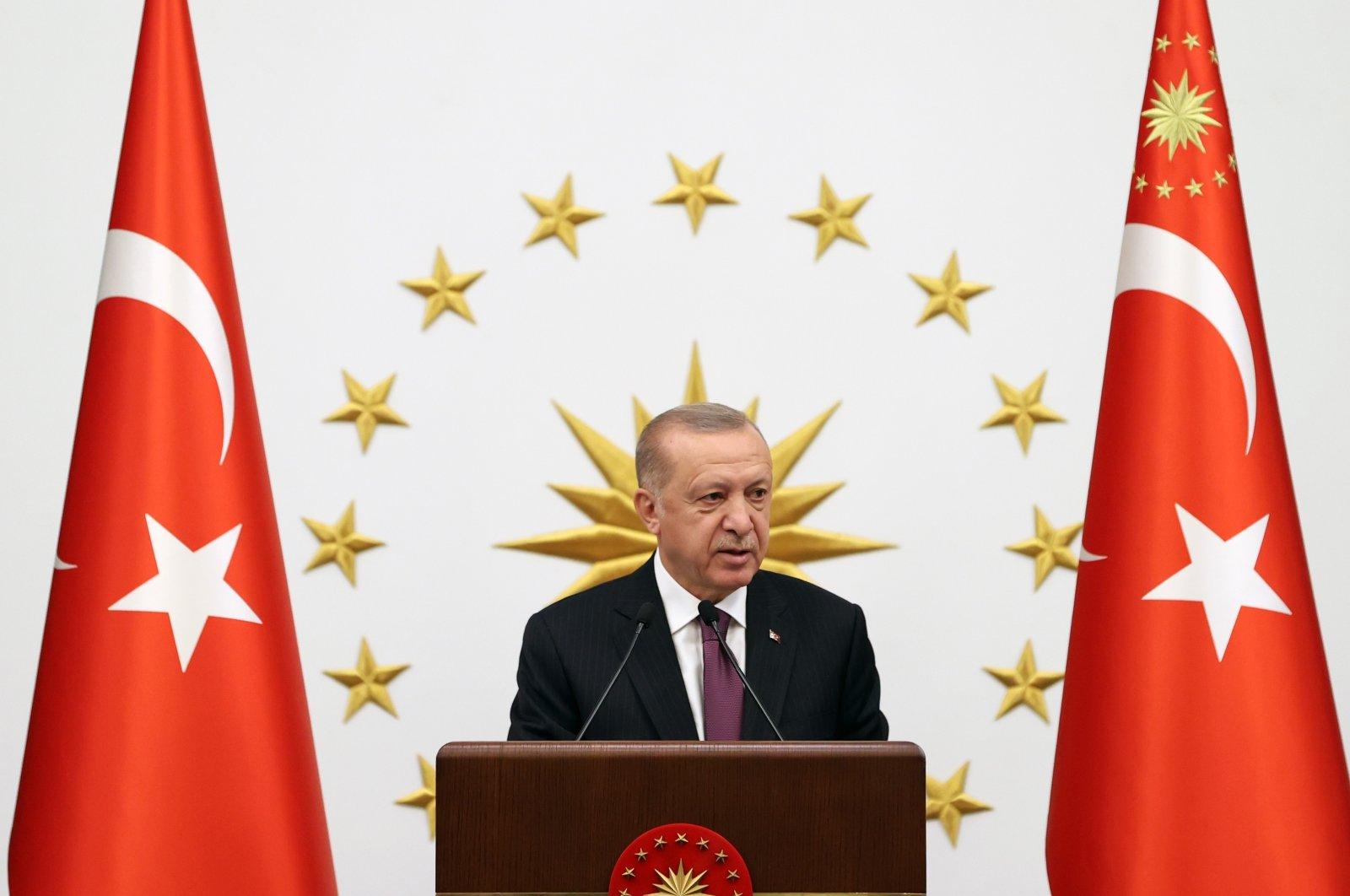President Recep Tayyip Erdoğan speaks during a reception at the Presidential Complex on Aug. 23, 2021 (IHA Photo)