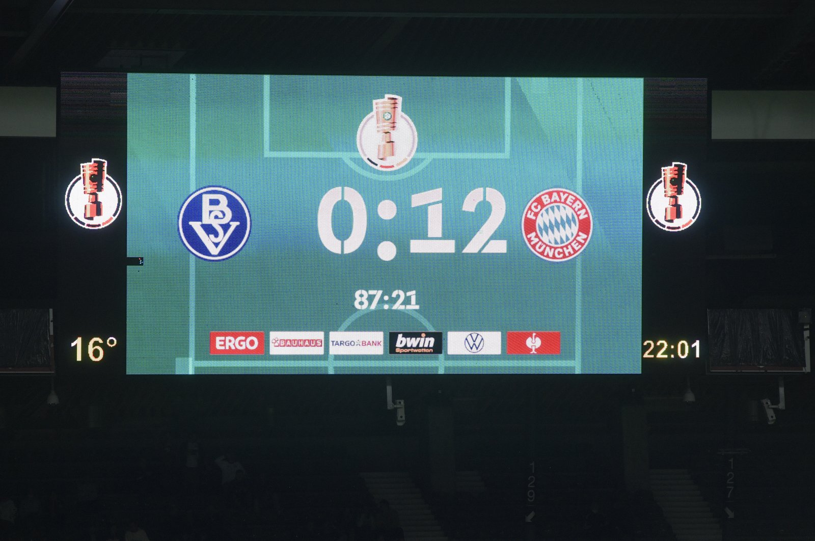 General view of the scoreboard during the German Cup (DFB Pokal) first-round match between Bremen and Bayern Munich, in Bremen, Germany, Aug. 25, 2021. (Reuters Photo)