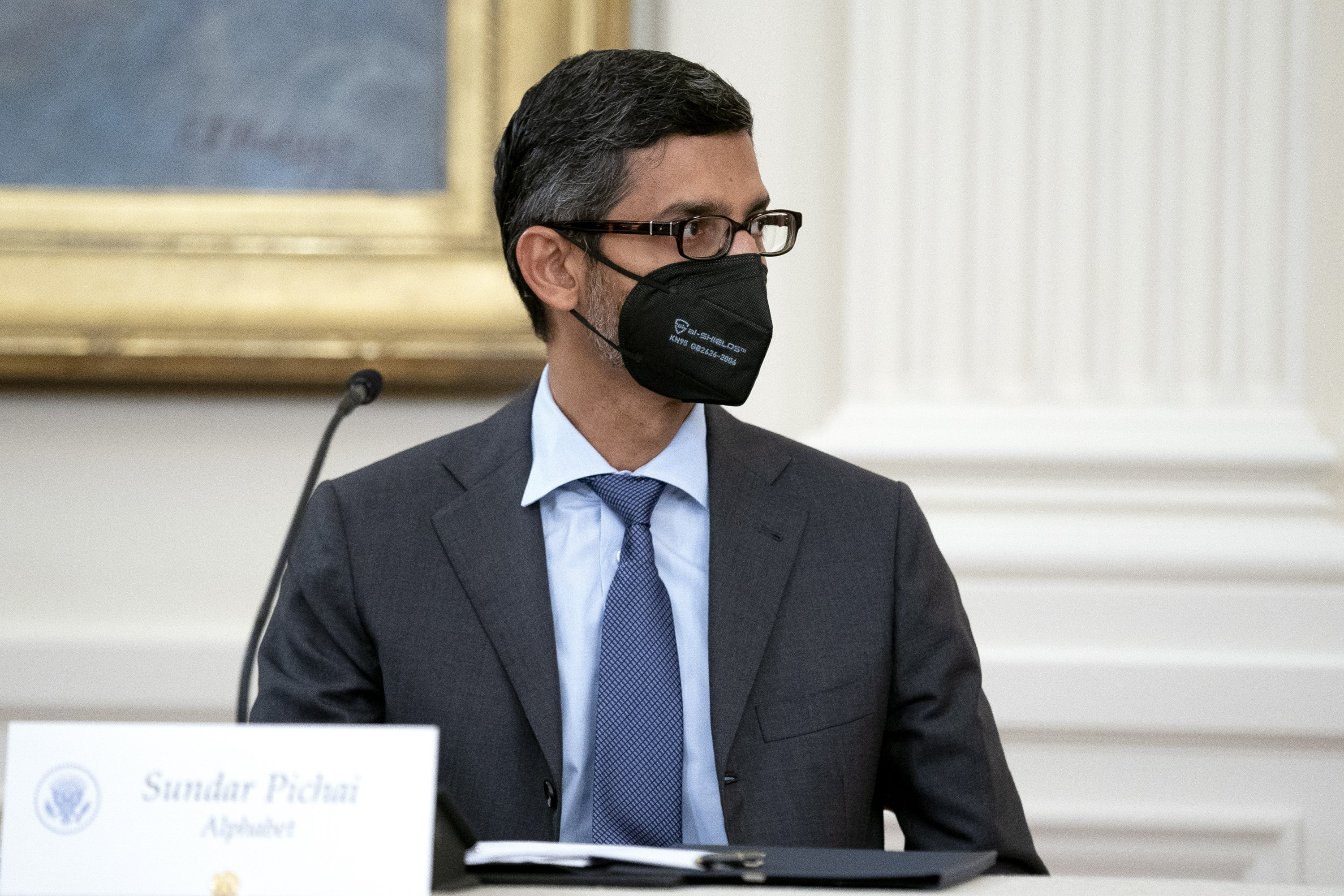 Alphabet CEO Sundar Picha attends a meeting with U.S. President Joe Biden, not pictured, in the East Room of the White House, in Washington, U.S., Aug. 25, 2021. (EPA Photo)