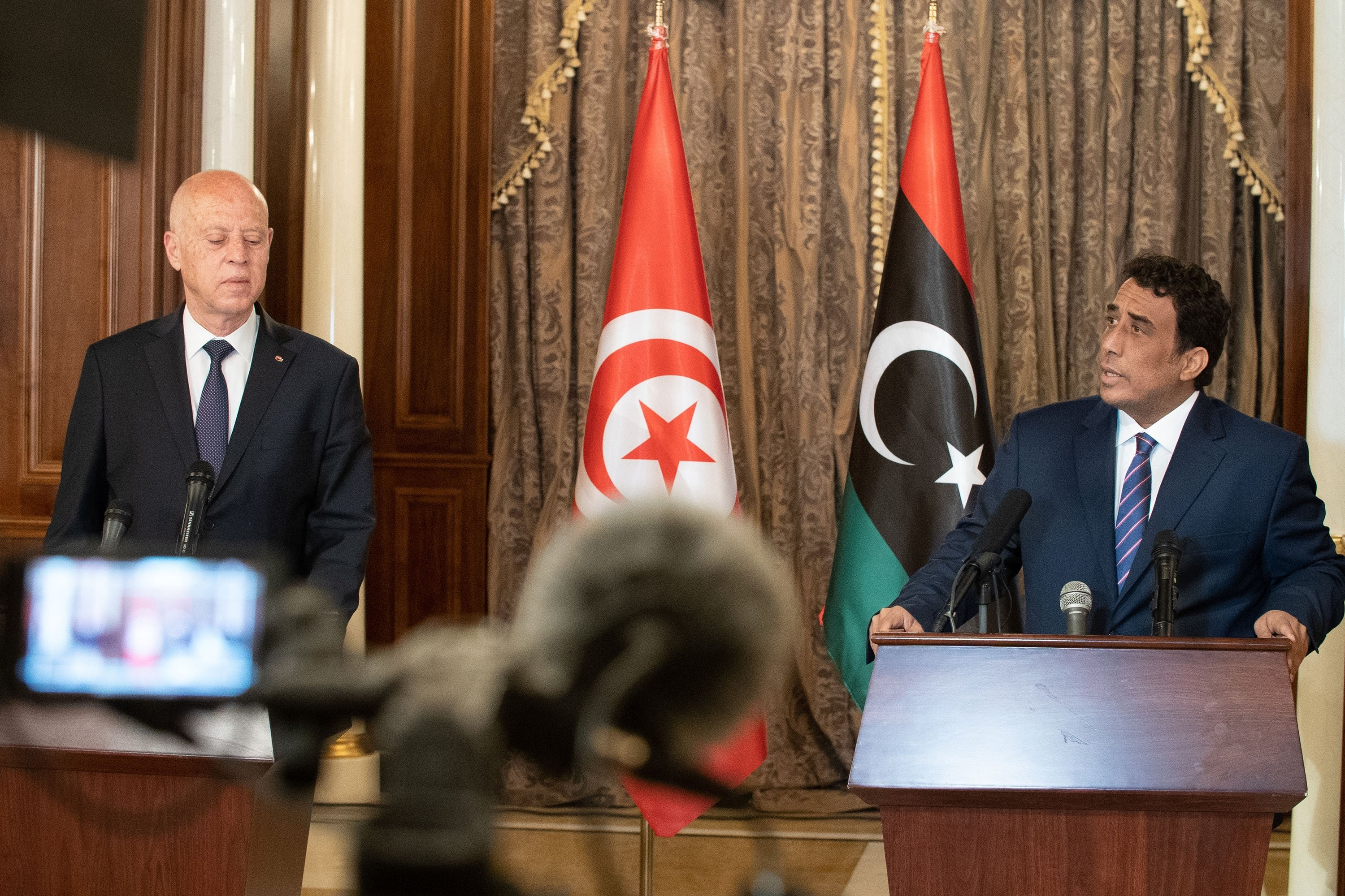 The press conference between the new Libyan Presidential Council head, Mohamed Menfi and the President of Tunisia Kais Saied, Tripoli, Libya, March 17, 2021. (Shutterstock Photo)