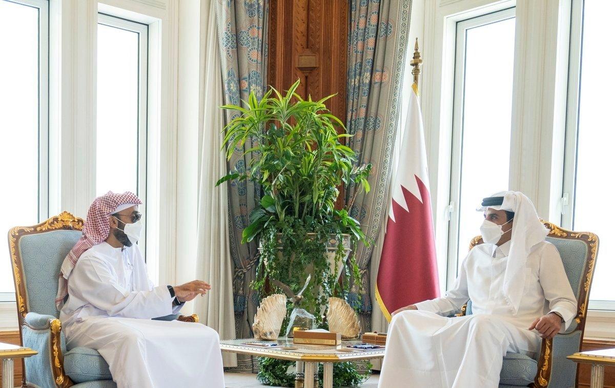 Qatar's Sheikh Tamim bin Hamad Al Thani meets with the UAE's national security adviser, Sheikh Tahnoun bin Zayed Al Nayhan, in Doha, Qatar, Aug. 26, 2021. (Qatar News Agency via Reuters)