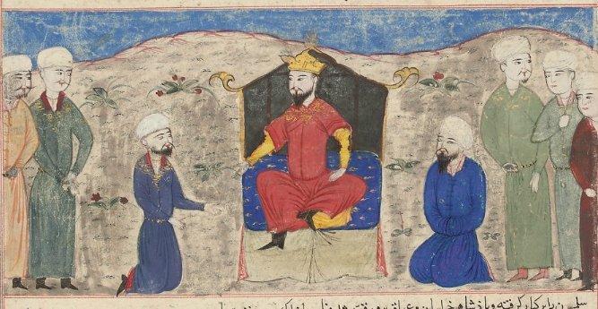 Miniature painted illustration from the Majma' al-Tawarikh of Hafiz 'Abru, depicting Alp Arslan's accession to the throne of Herat, circa 1425. (Wikimedia)