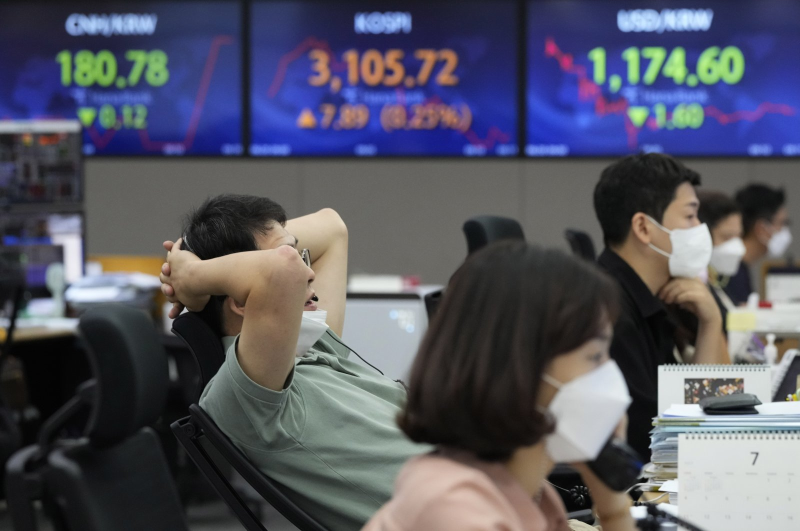 Currency traders wearing face masks watch monitors at the foreign exchange dealing room of the KEB Hana Bank headquarters in Seoul, South Korea, Aug. 20, 2021. (AP Photo)