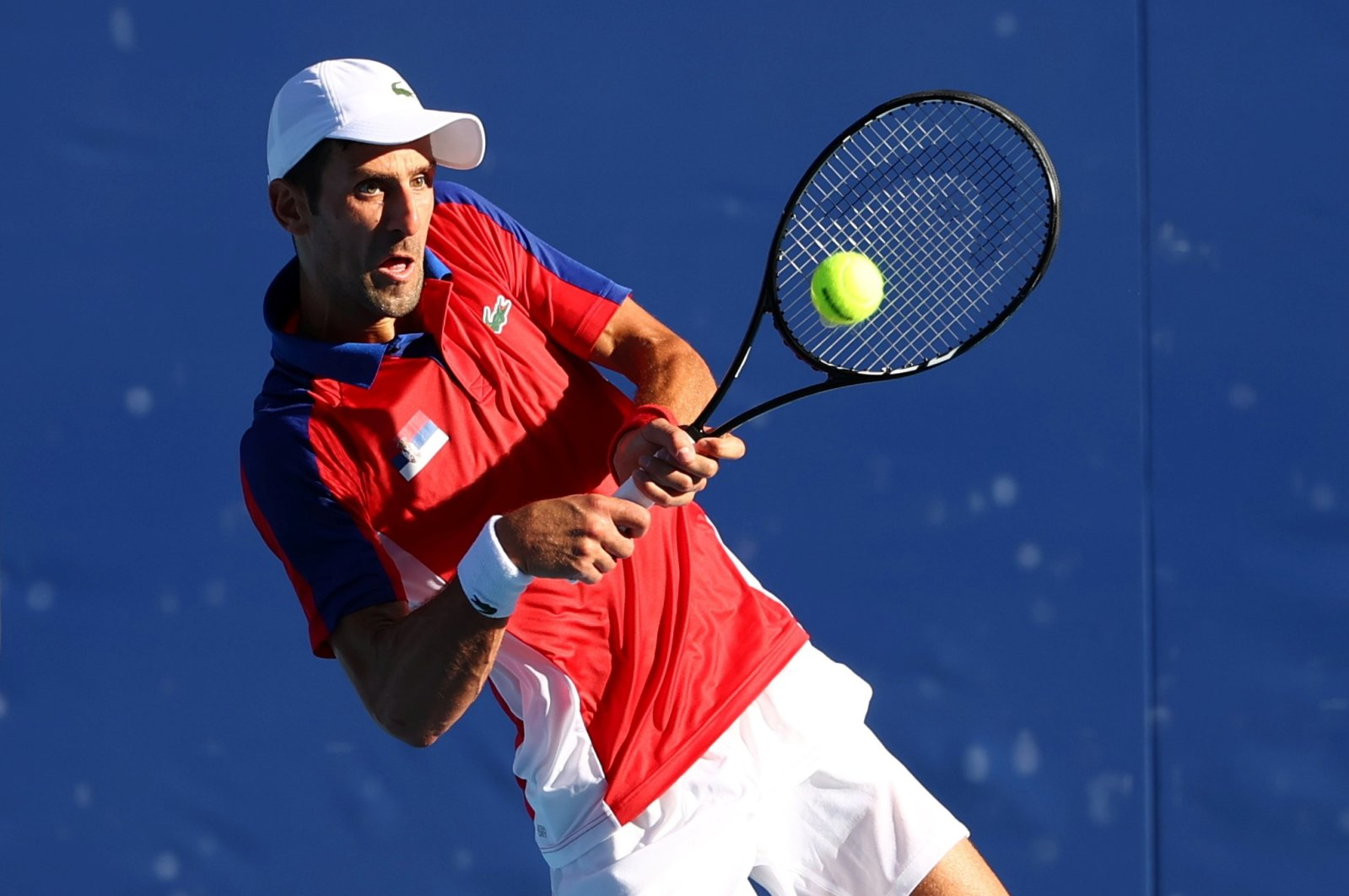 Serbia's Novak Djokovic in action during the Tokyo 2020 Olympics bronze medal match against Spain's Pablo Carreno, Tokyo, Japan, July 31, 2021.