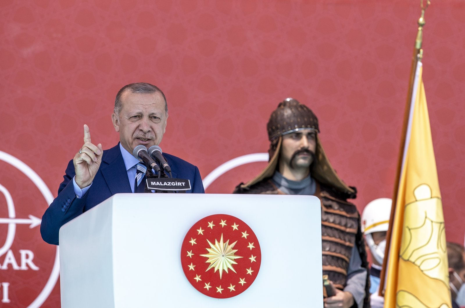 President Recep Tayyip Erdoğan speaks at the event, in Malazgirt, Muş, eastern Turkey, Aug. 26, 2021. (AA PHOTO)