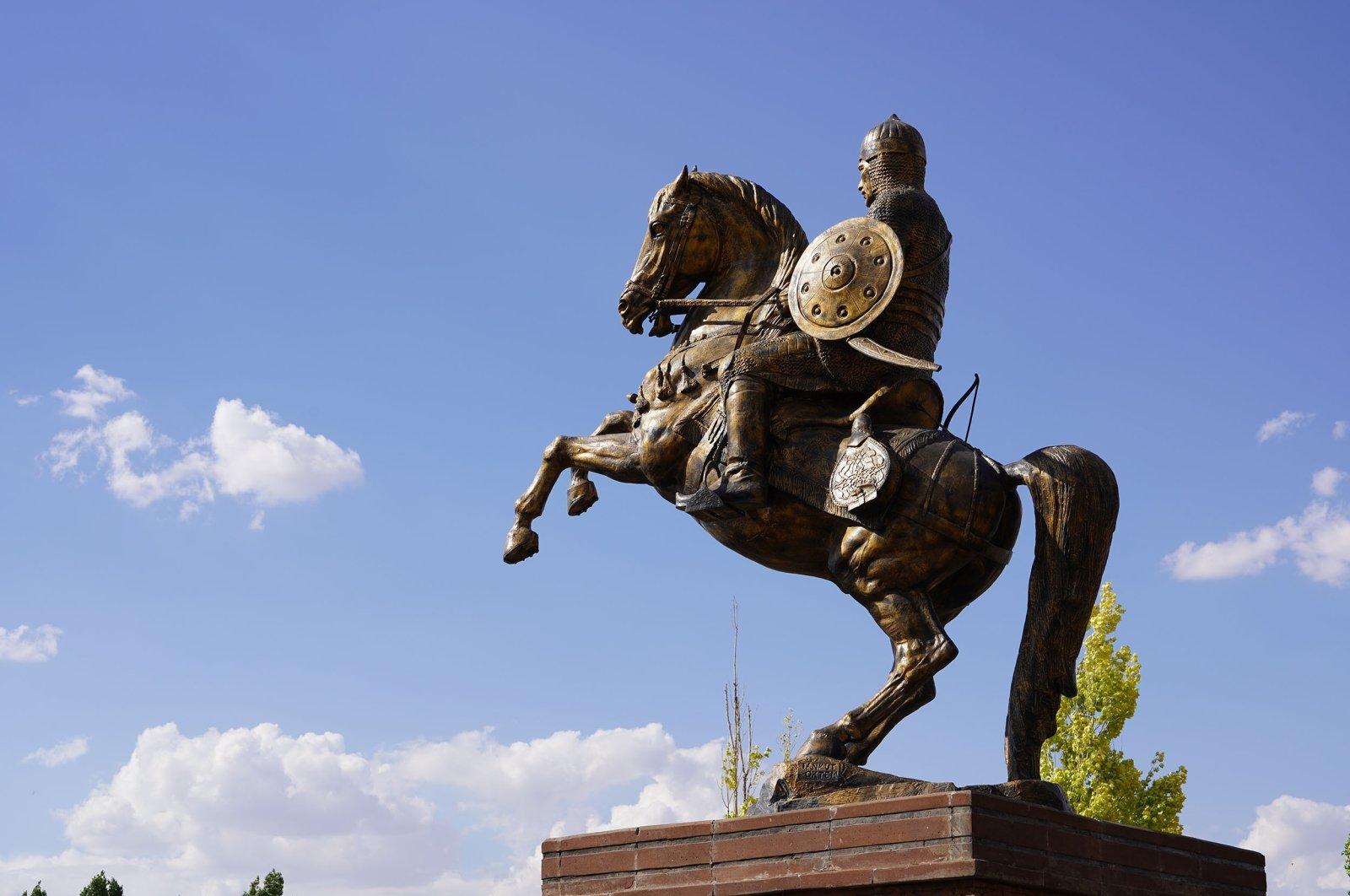Statue of Alp Arslan in Malazgirt, Muş, Turkey, July 8, 2021. (Shutterstock Photo)