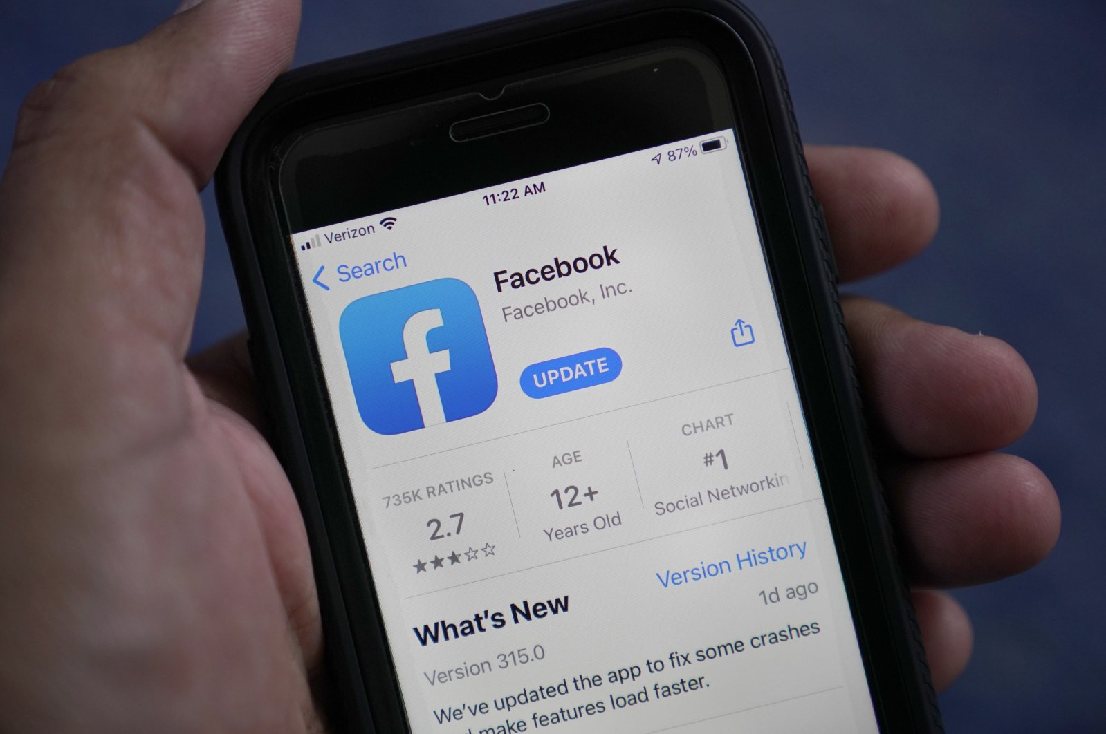 The Facebook app is shown on a smart phone in Surfside, Fla., U.S., April 23, 2021. (AP Photo)