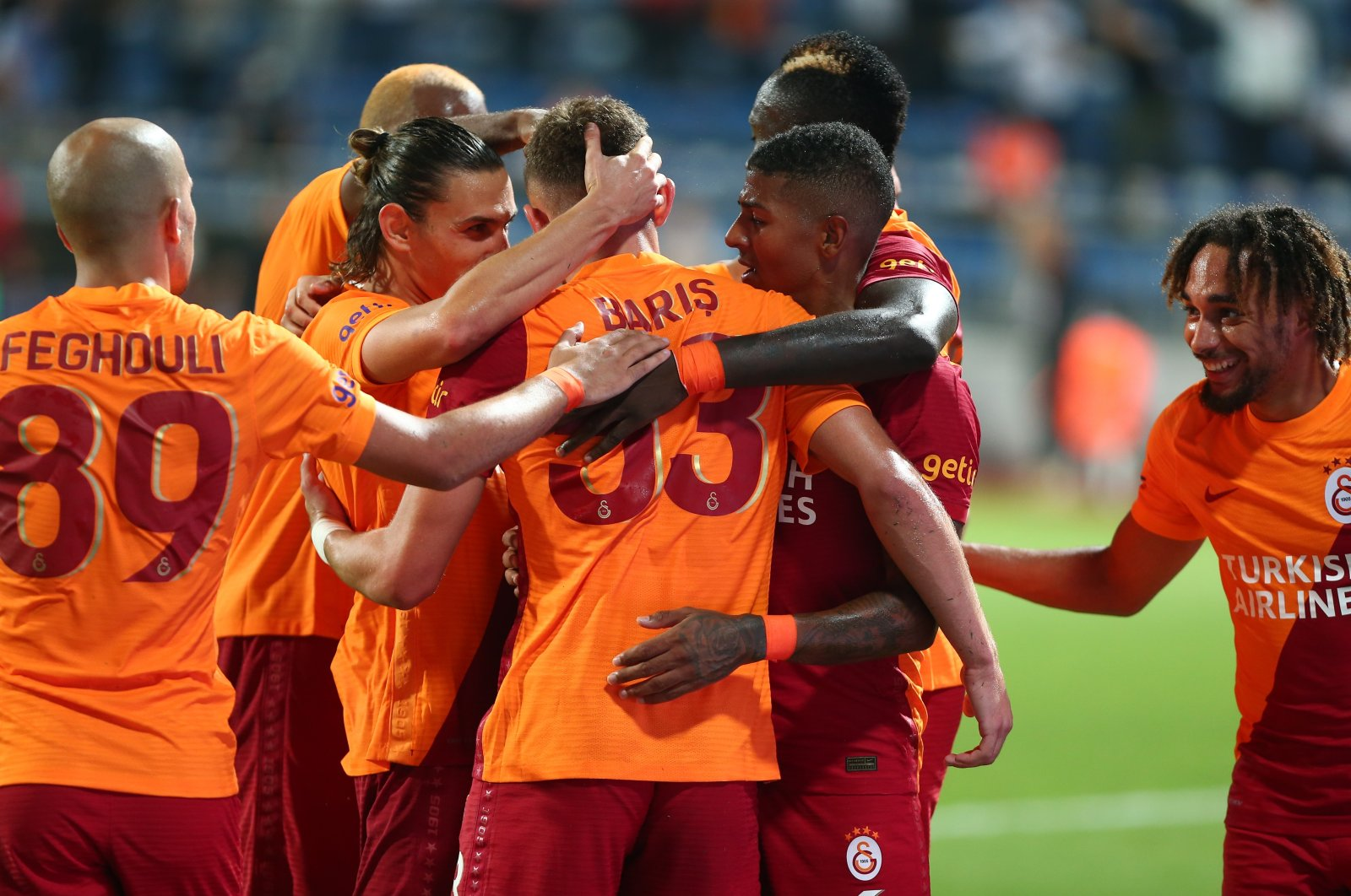 Galatasaray team celebrates a goal during the Europa League playoff football match against Randers in Istanbul, Turkey, Aug. 26, 2021. (IHA Photo)