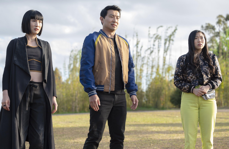 Meng'er Zhang (L) as Xialing, Simu Liu (M) as Shang-Chi and Awkwafin as Katy in 'Shang-Chi and the Legend of the Ten Rings.' (DPA Photo)