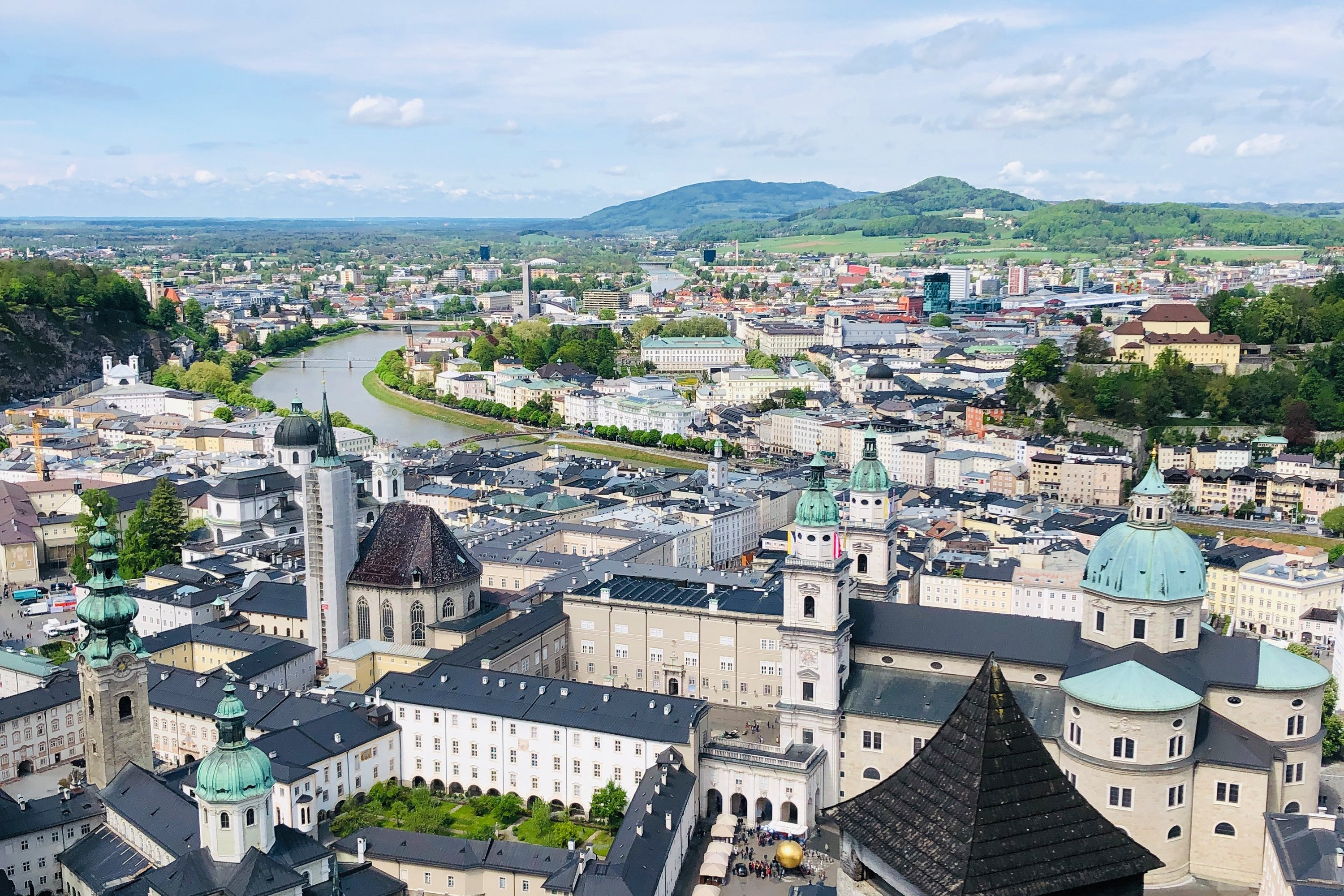 Tourists have a good view of the city from the Hohensalzburg Fortress high above Salzburg. (Photo by Catherine Waibel via dpa)