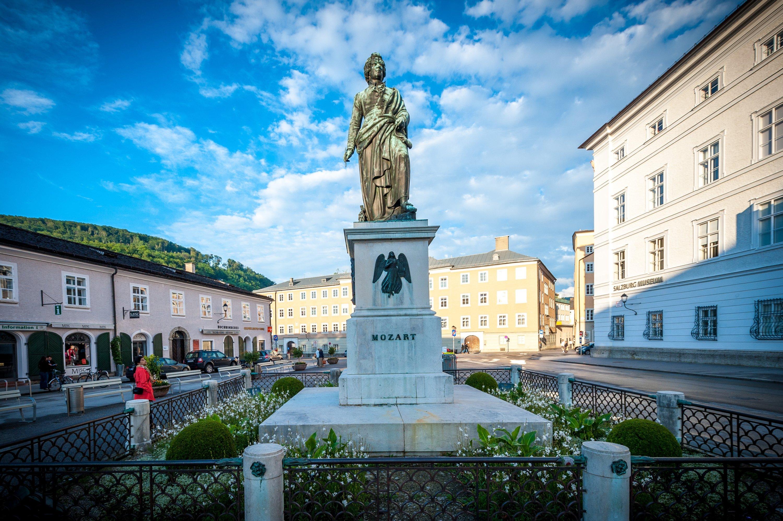 The Mozart Monument on Mozartplatz is dedicated to the famous composer Wolfgang Amadeus Mozart, who was born in Salzburg. (G.Breitegger/Tourismus Salzburg GmbH via dpa)