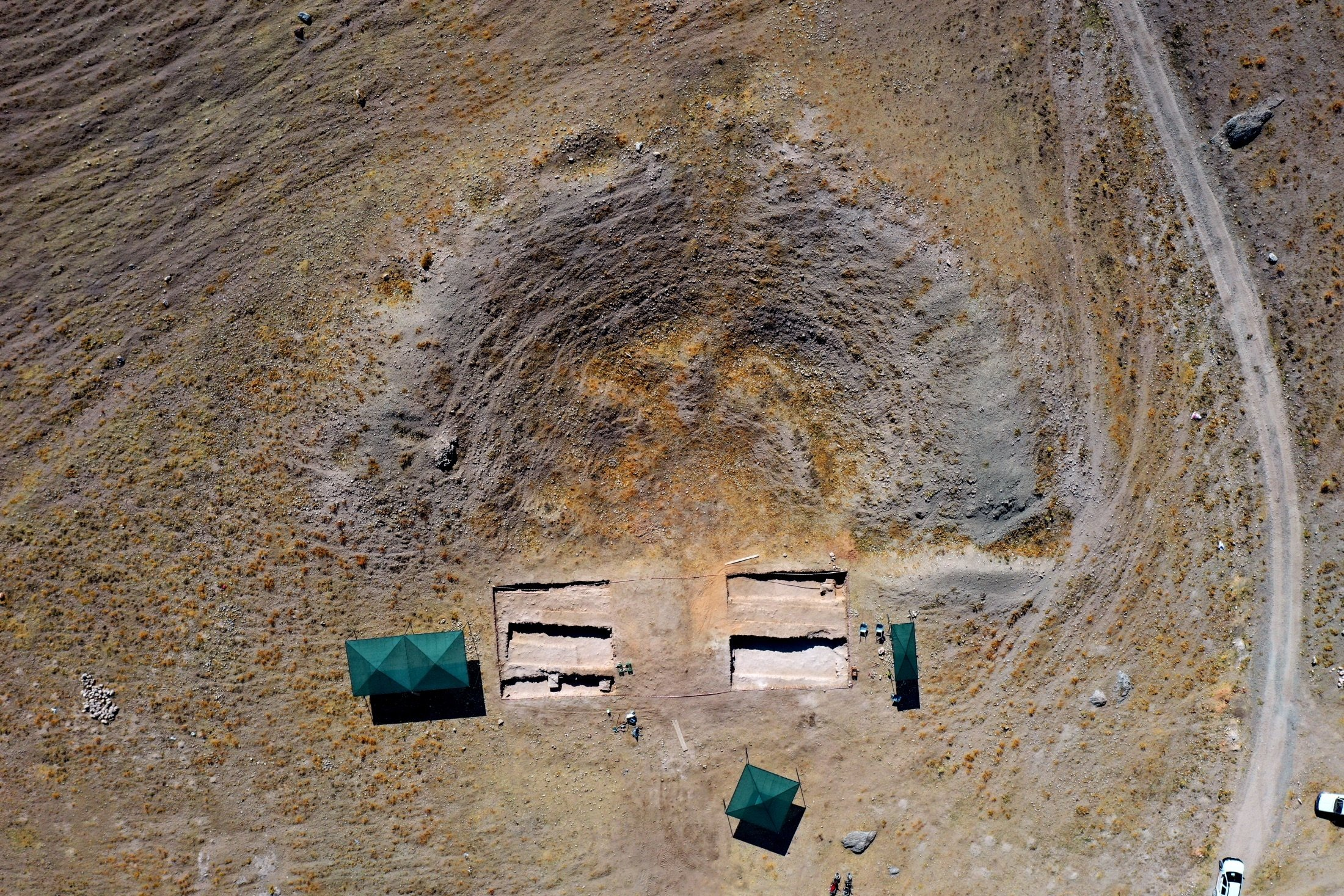 An aerial view shows the theater complex of the ancient city of Savatra, inKonya, Turkey, Aug. 27, 2021. (AA Photo)
