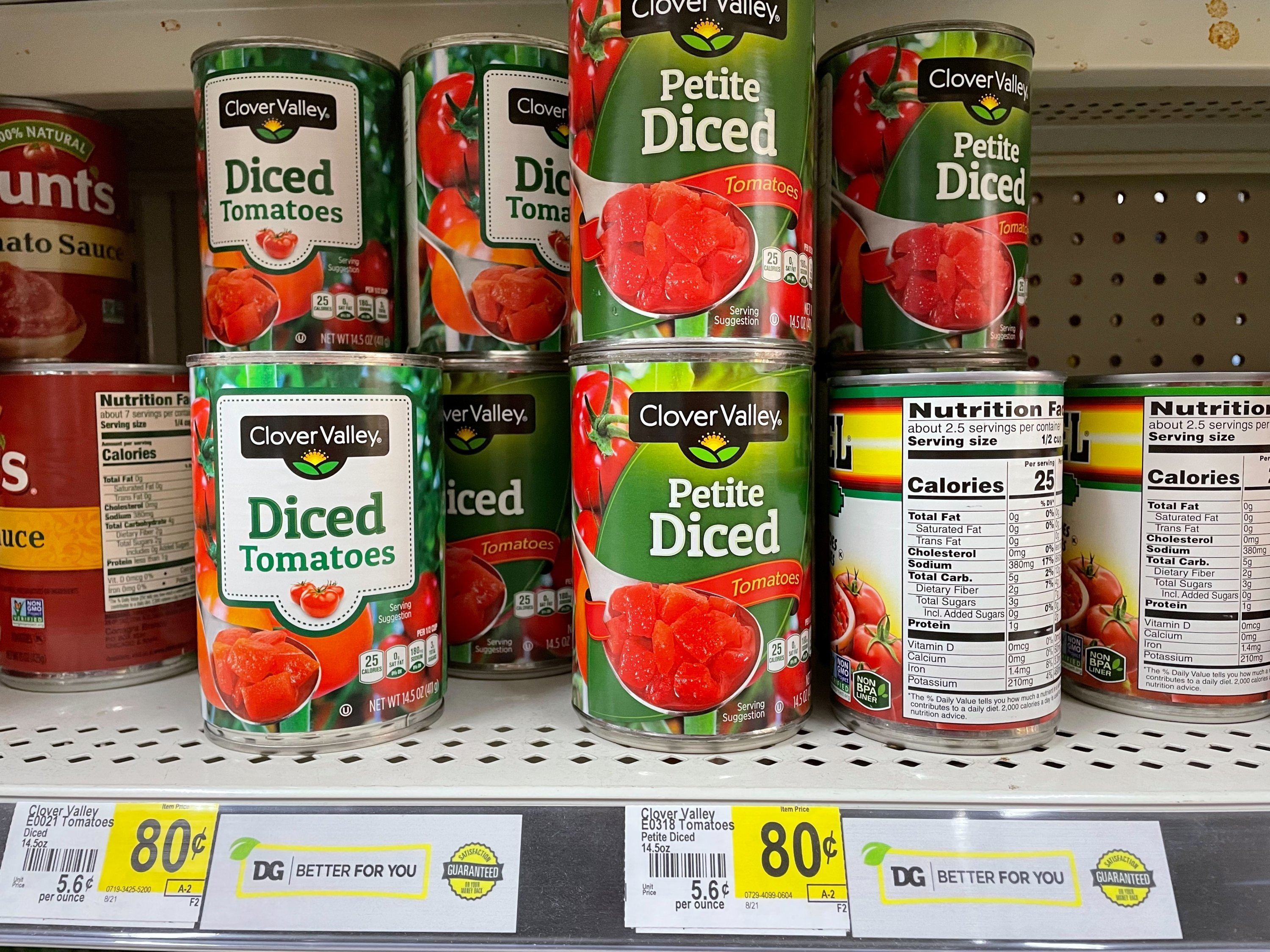Could this be the packaging of a future vaccine? Cans of tomatoes are seen at a Dollar General store in Norridge, Chicago, U.S., on Aug. 24, 2021. (Reuters Photo)