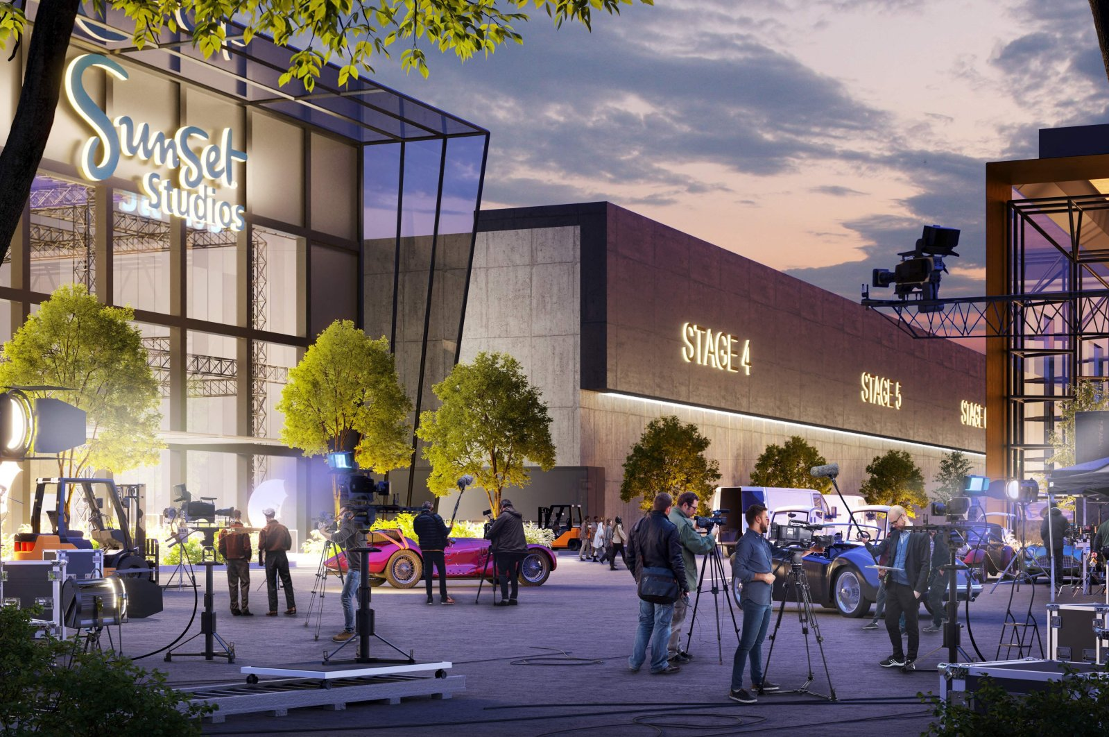 A handout artist's impression shows the proposed development of a new Sunset Studios center for film, TV and digital production in Broxbourne, north of London, U.K., Aug. 2, 2021. (Blackstone via AFP)