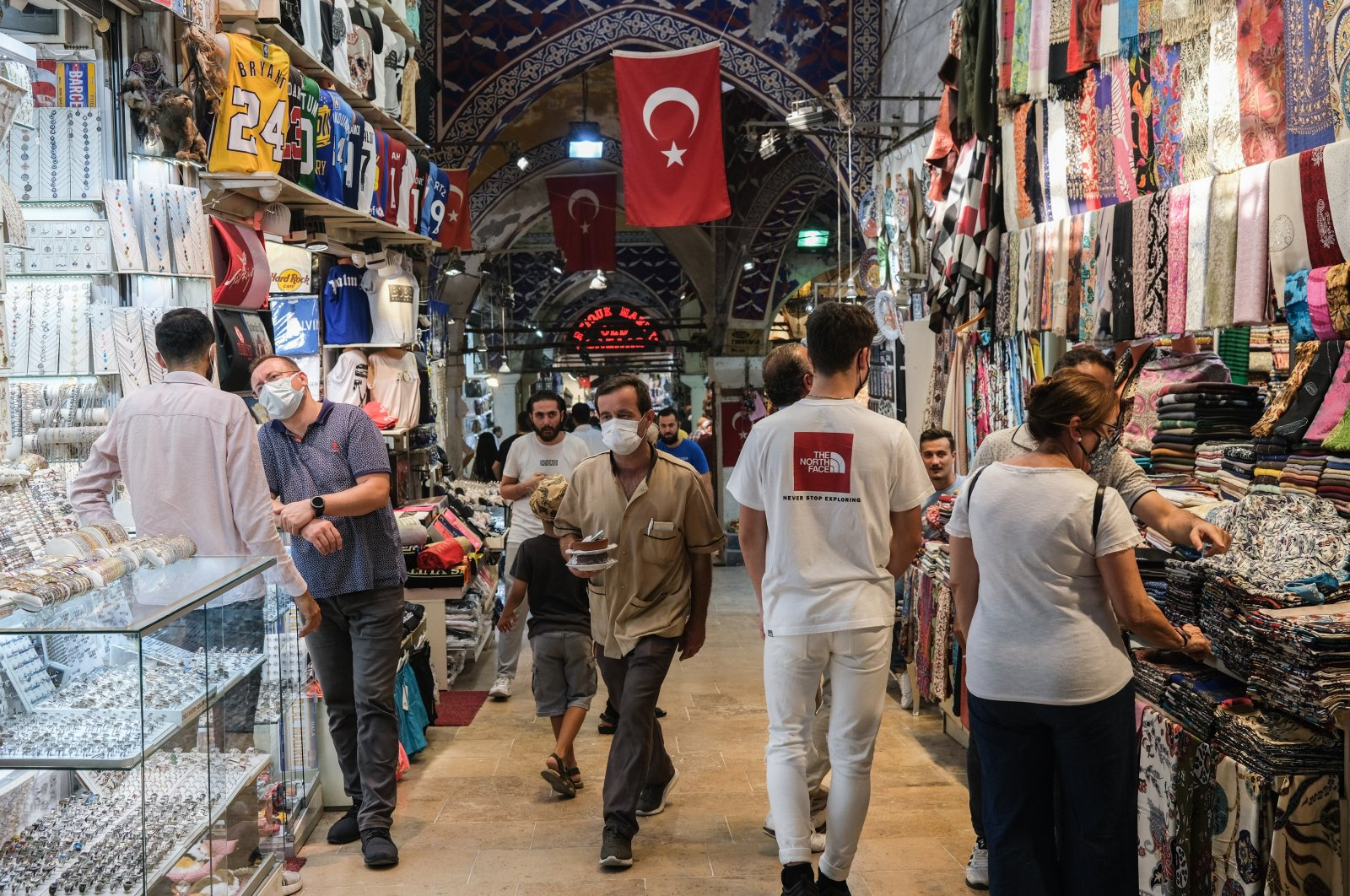 People wearing face masks at the historic Grand Bazaar, in Istanbul, Turkey, Aug. 10, 2021. (EPA Photo)