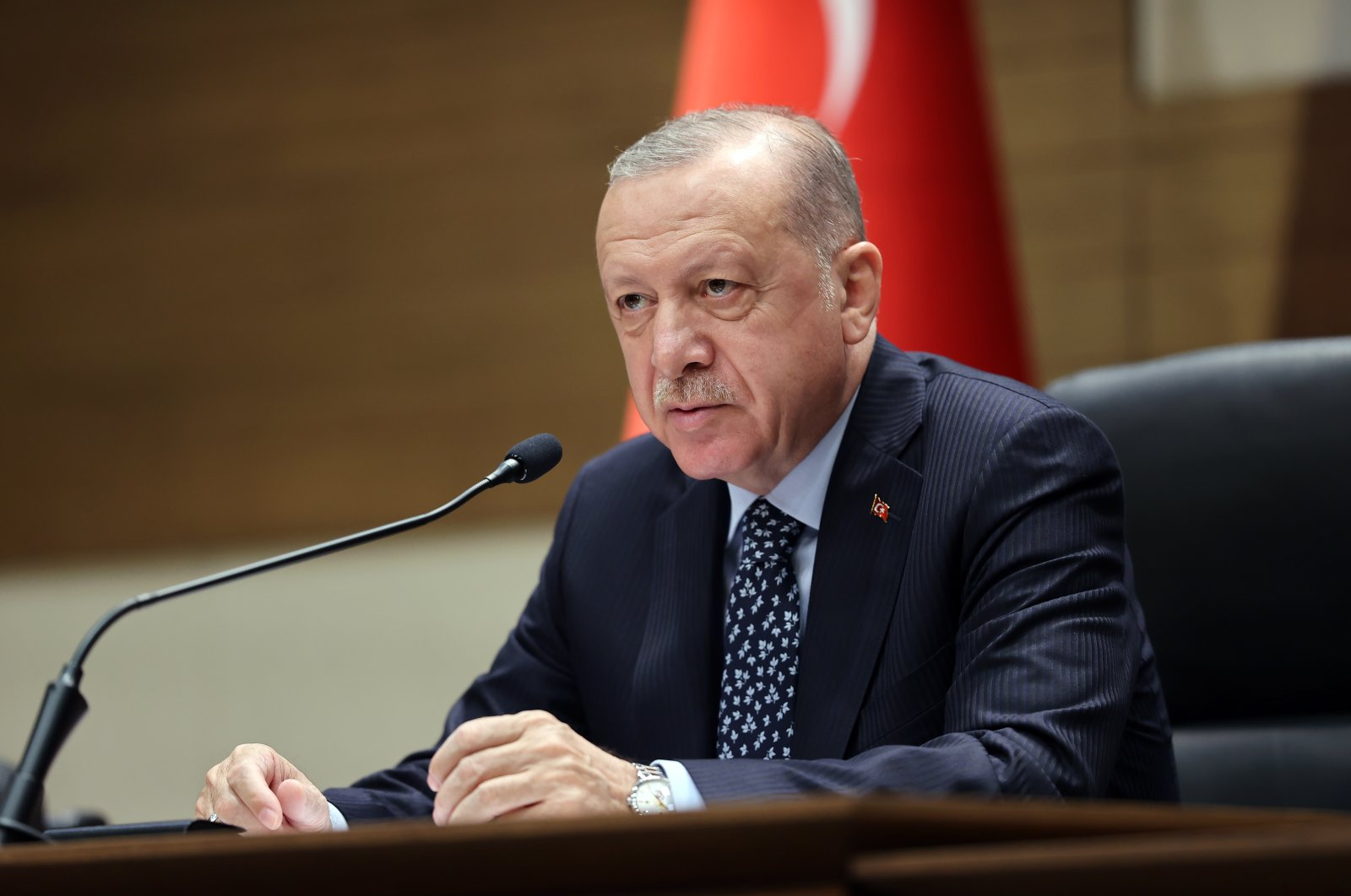 President Recep Tayyip Erdoğan speaking at Atatürk Airport in Istanbul, Turkey, Aug. 27, 2021 (AA Photo)