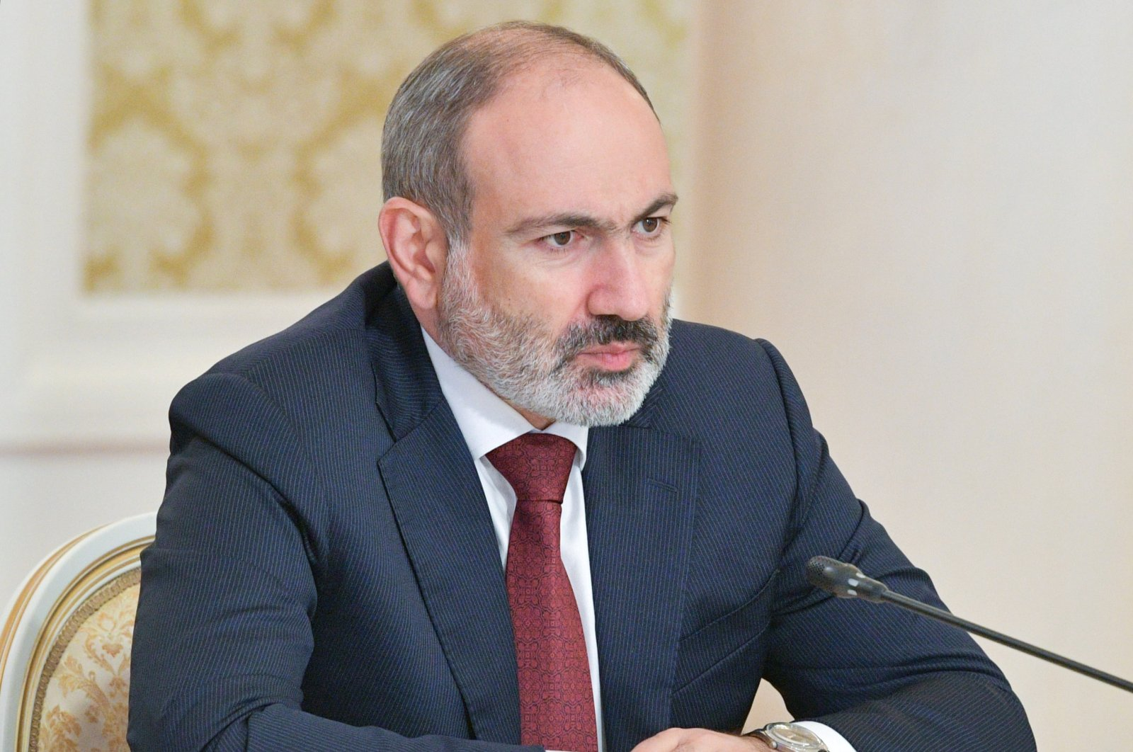 Armenian Prime Minister Nikol Pashinian attends a meeting with Russian Prime Minister Mikhail Mishustin before a session of the Eurasian Economic Union (EAEU) Intergovernmental Council in Kazan, Russia, 29 April 2021. (EPA Photo)