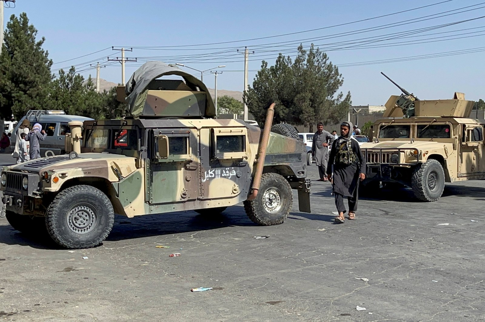 Taliban forces block the roads around the airport in Kabul, Afghanistan, Aug. 27, 2021. (Reuters Photo)