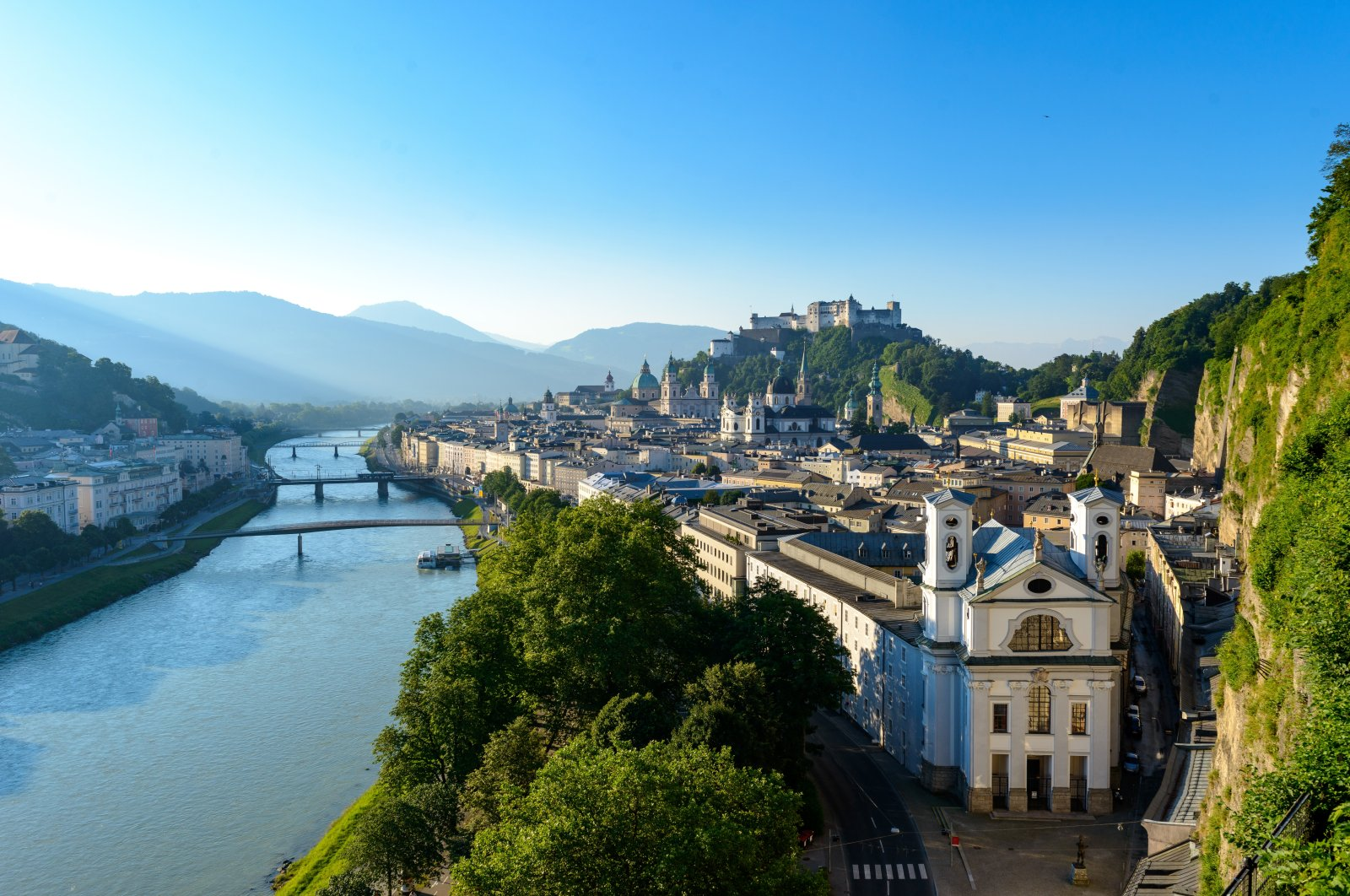From the Moenchsberg, tourists can get a good view of Salzburg's old town. (G.Breitegger/Tourismus Salzburg GmbH/dpa Photo)