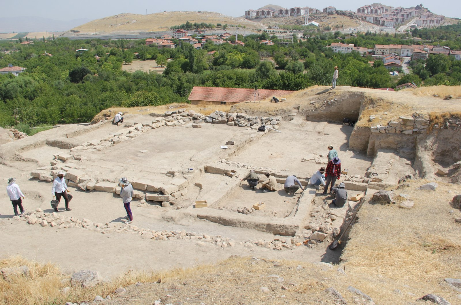 A general view from the excavations at the archaeological site of Arslantepe, Malatya, eastern Turkey, Aug. 18, 2021. (DHA Photo)