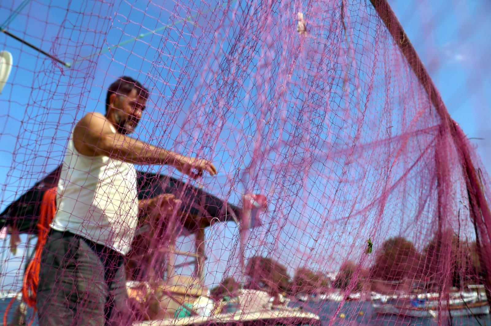A fisherman examines a fishing net, in Yalova, northwestern Turkey, Aug. 26, 2021. (AA PHOTO)