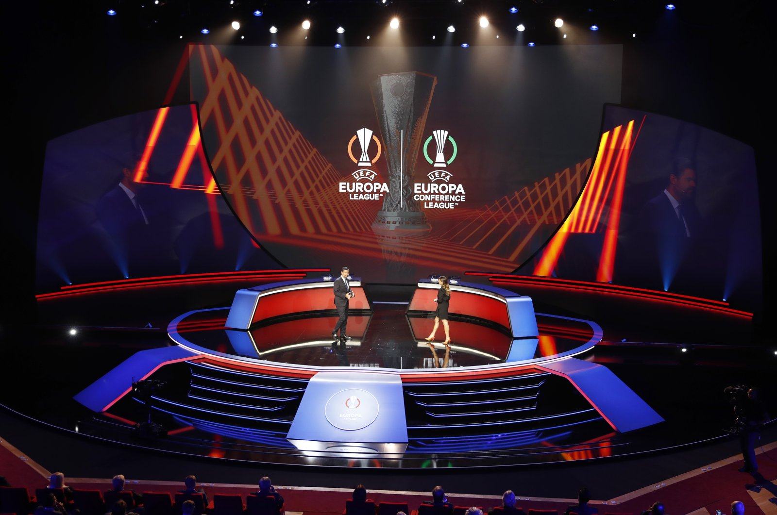 General view before the Europa League and Europa Conference League group stage draws at the Haliç Congress Center, Istanbul, Turkey, Aug. 27, 2021. (Reuters Photo)